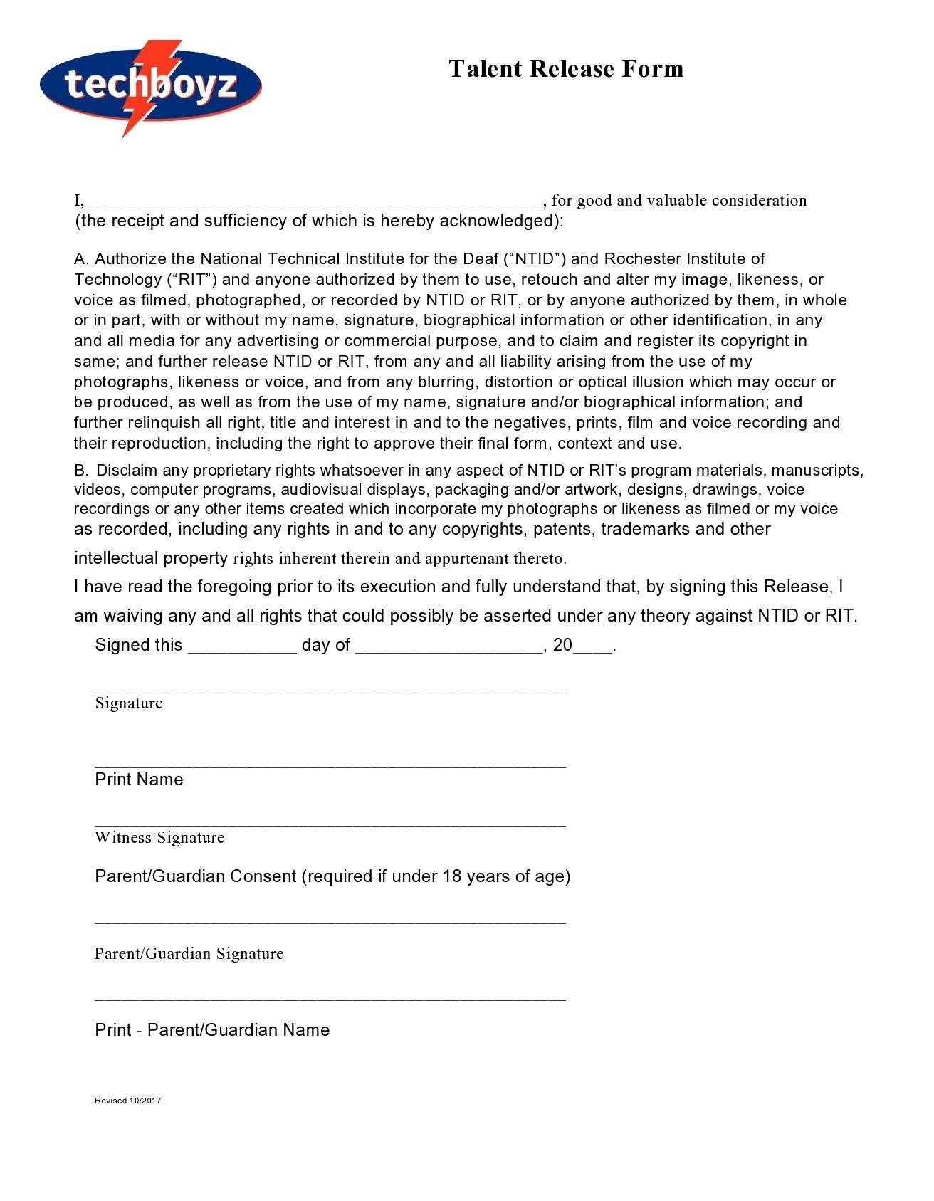Free talent release form 36