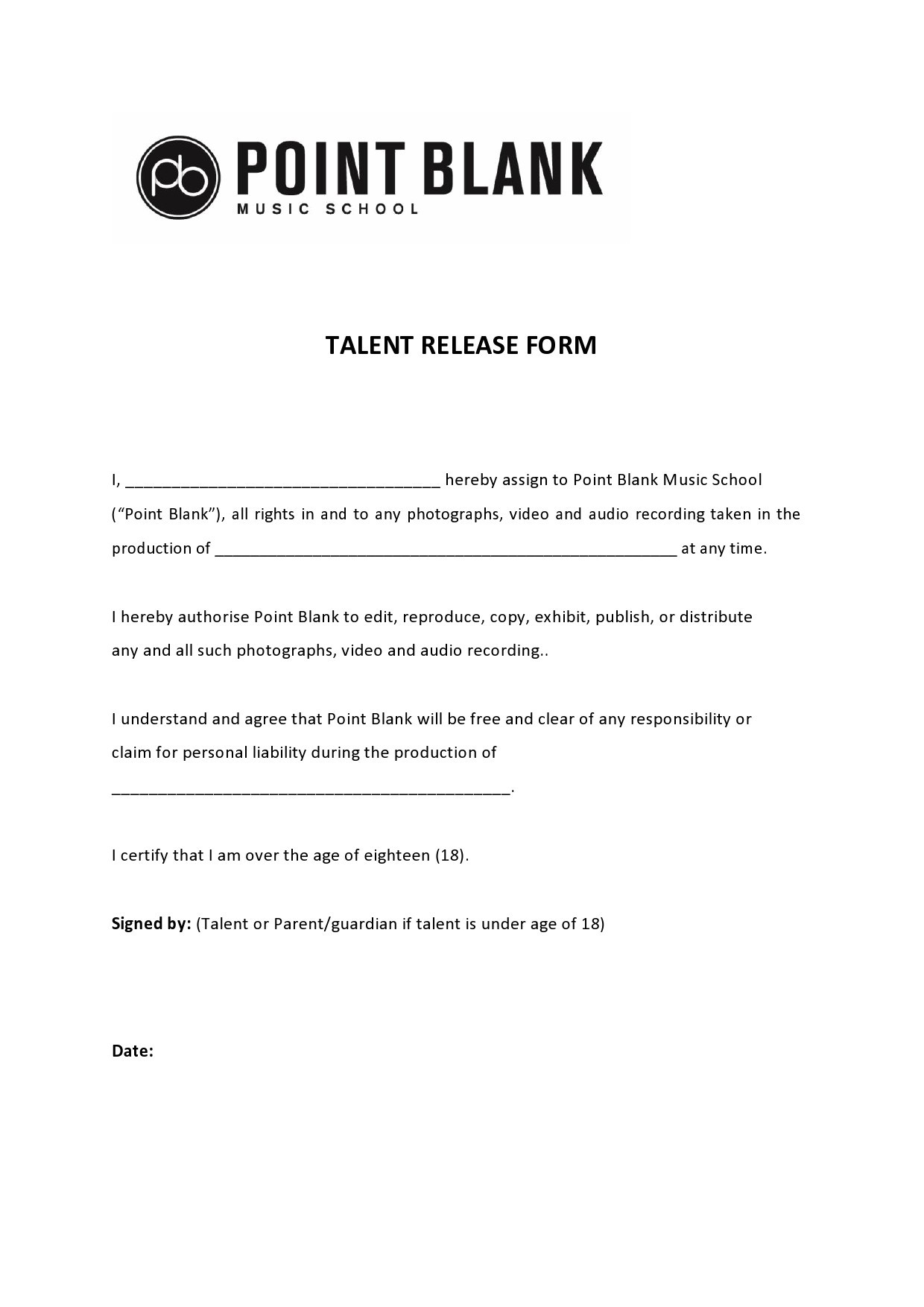 Free talent release form 37