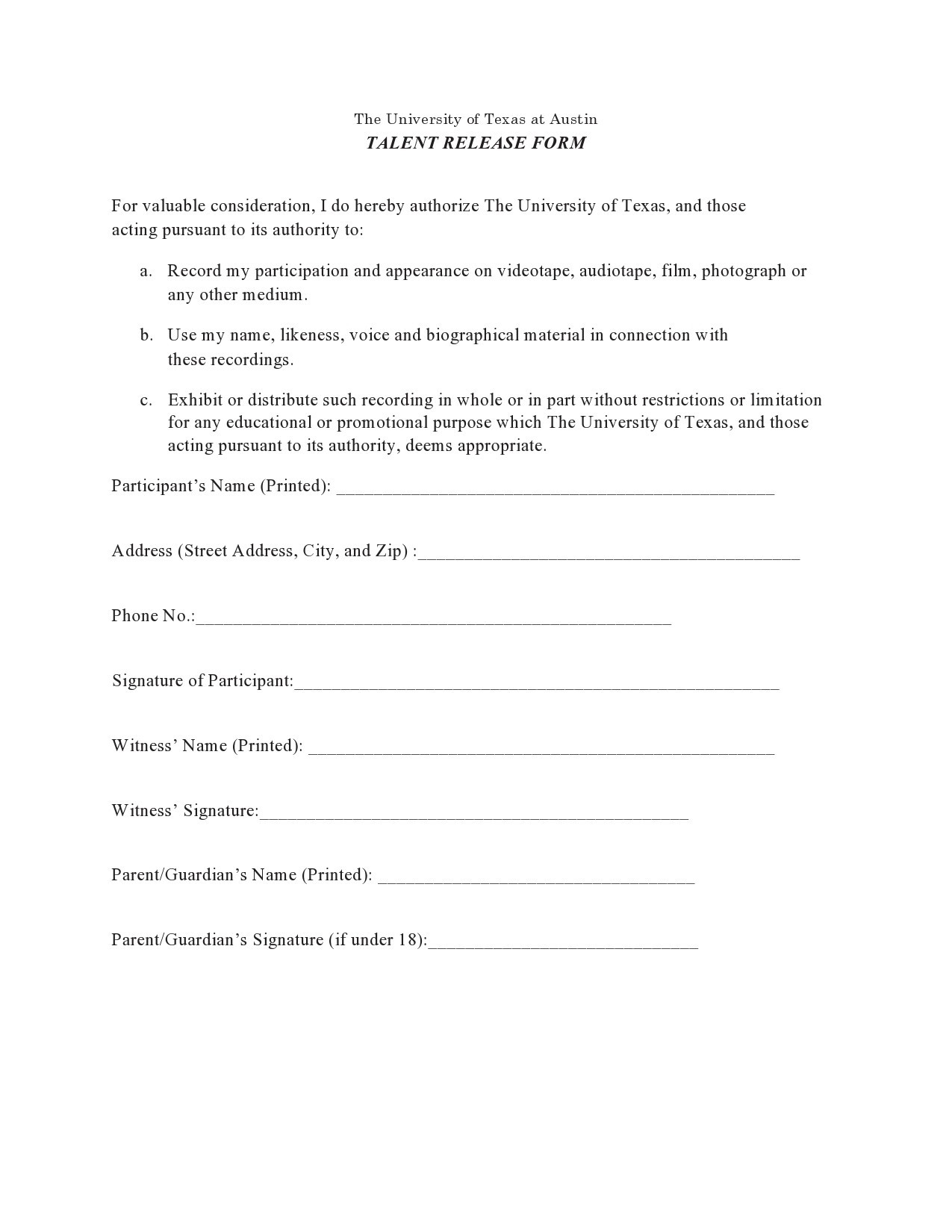 Free talent release form 39