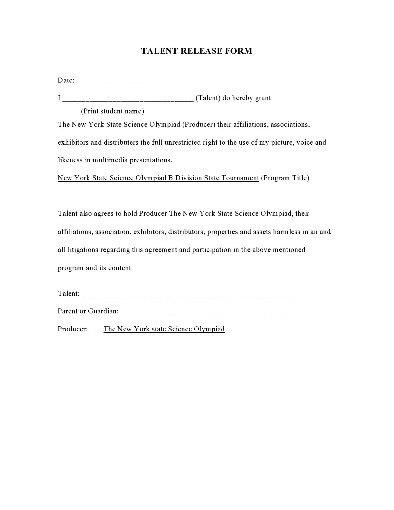 Free talent release form 42