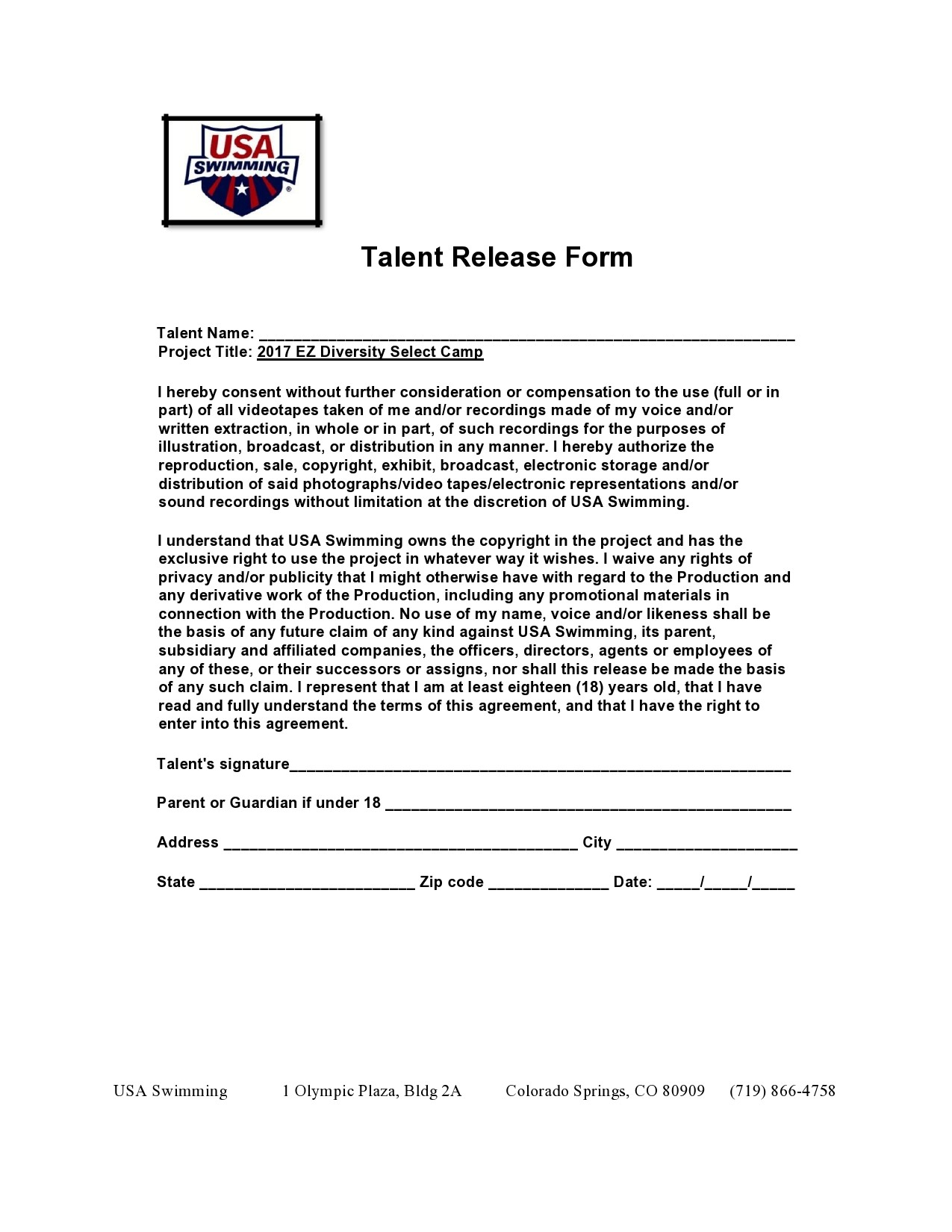 Free talent release form 44