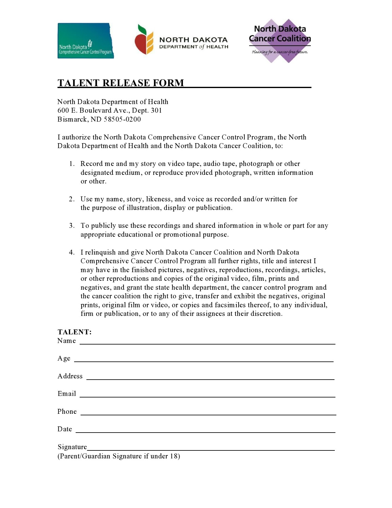 Free talent release form 46