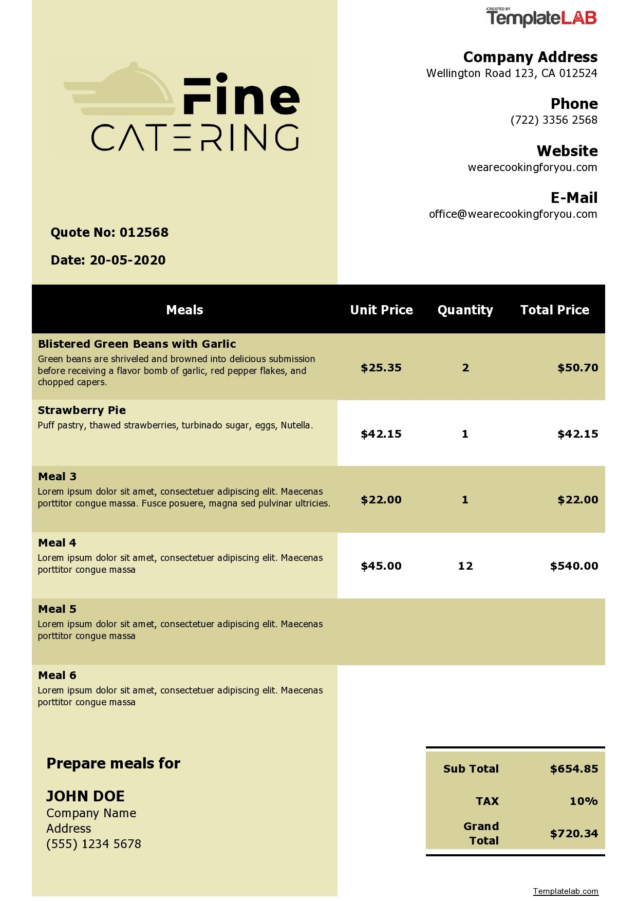 Free Catering Quote Template - TemplateLab.com