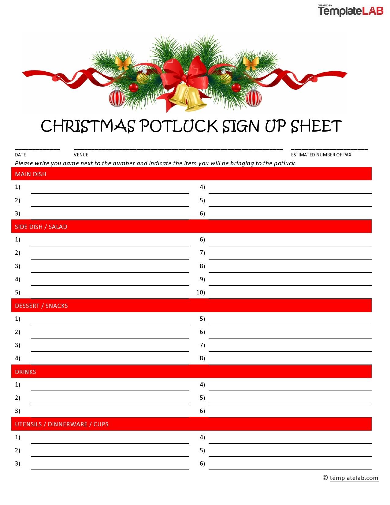Free Christmas Potluck Sign Up Sheet