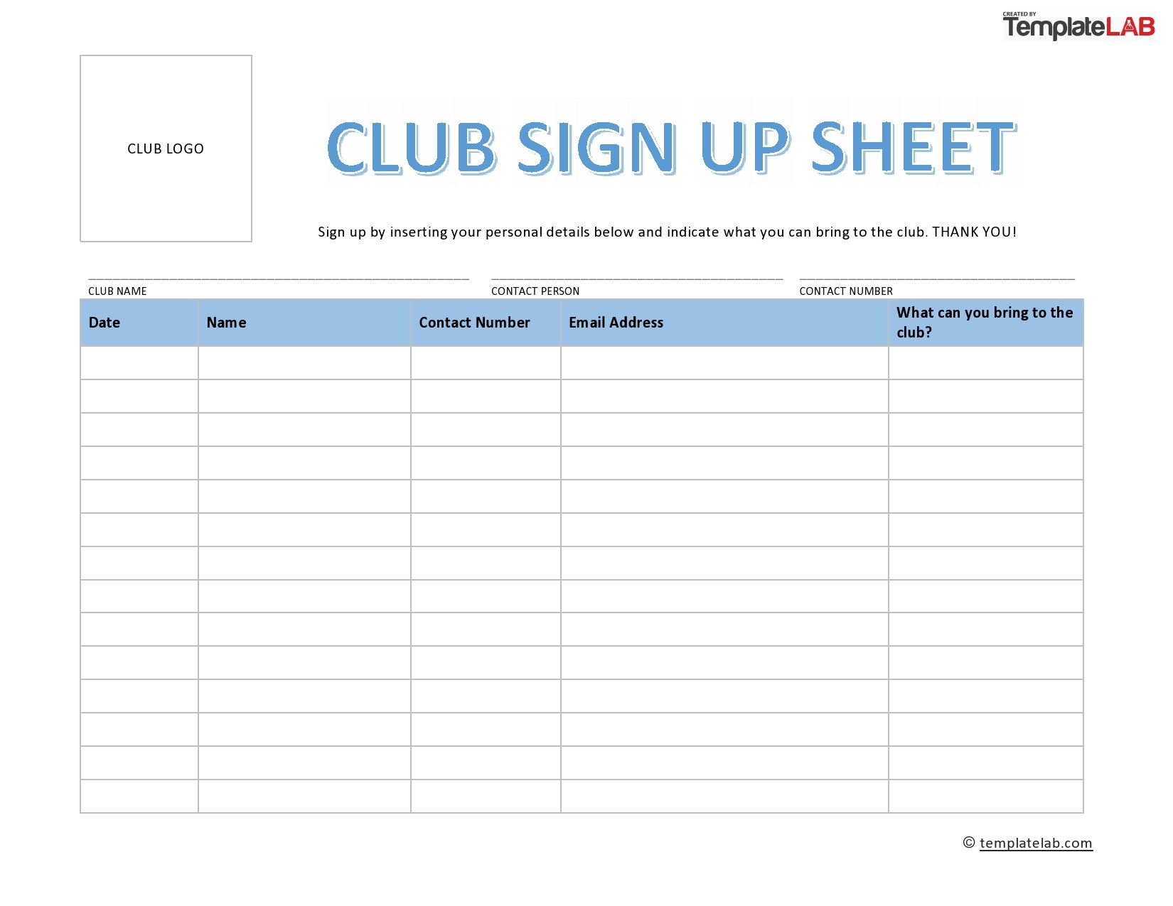 Free Club Sign Up Sheet