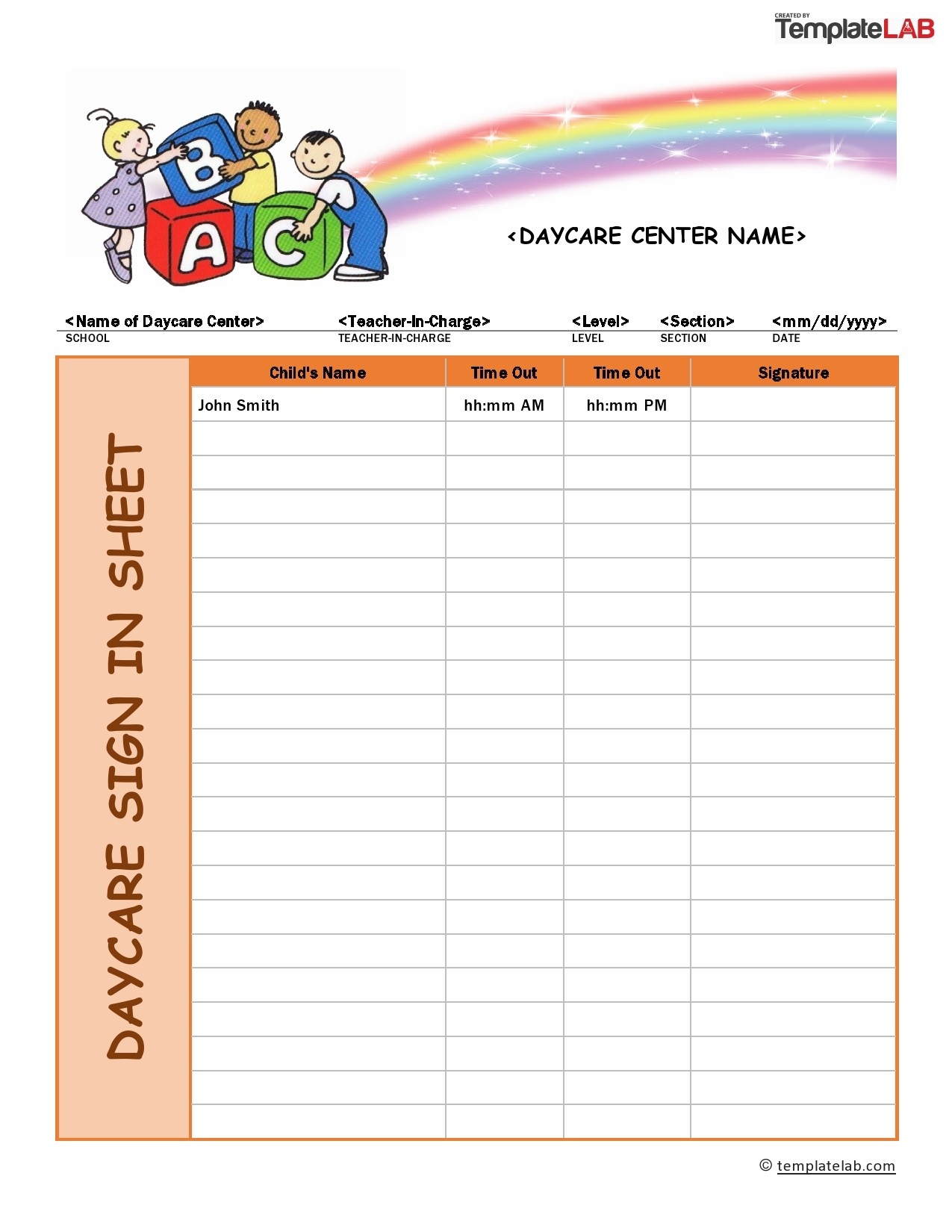 Free Daycare Sign In Sheet