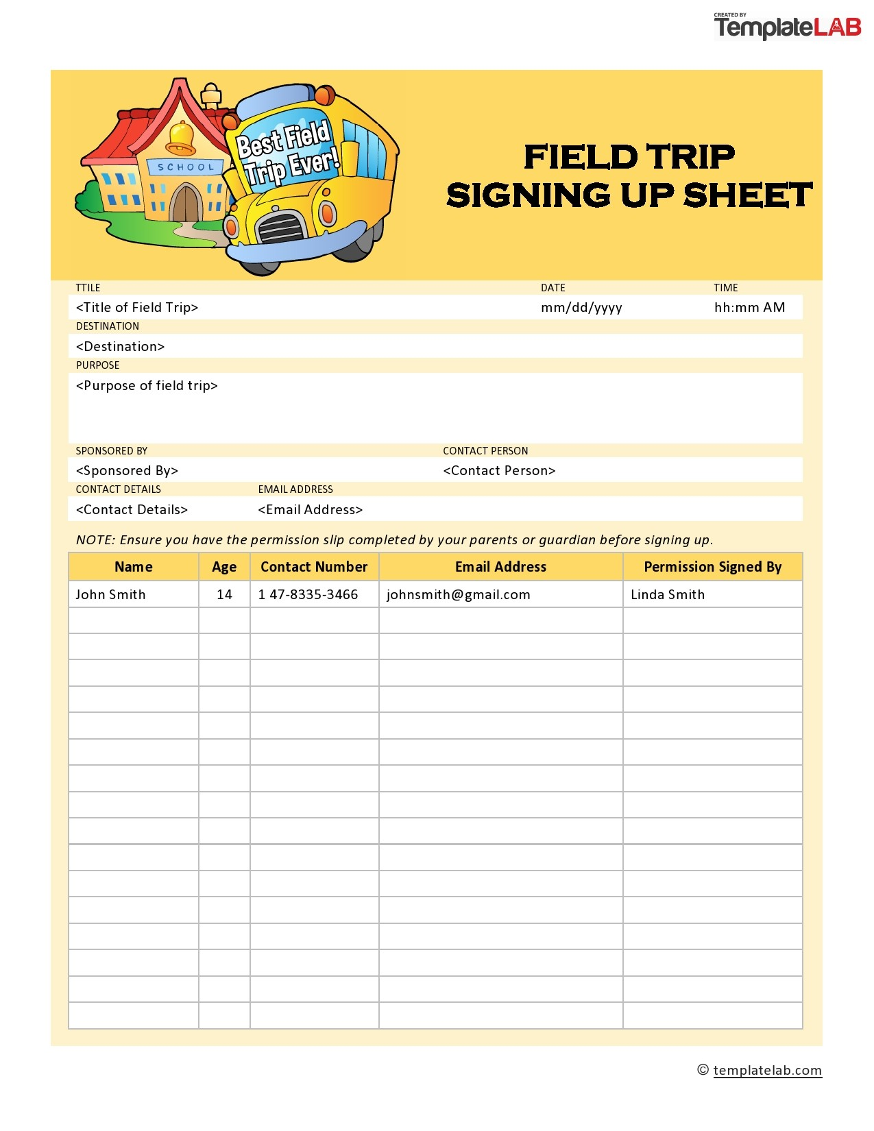Free Field Trip Sign Up Sheet