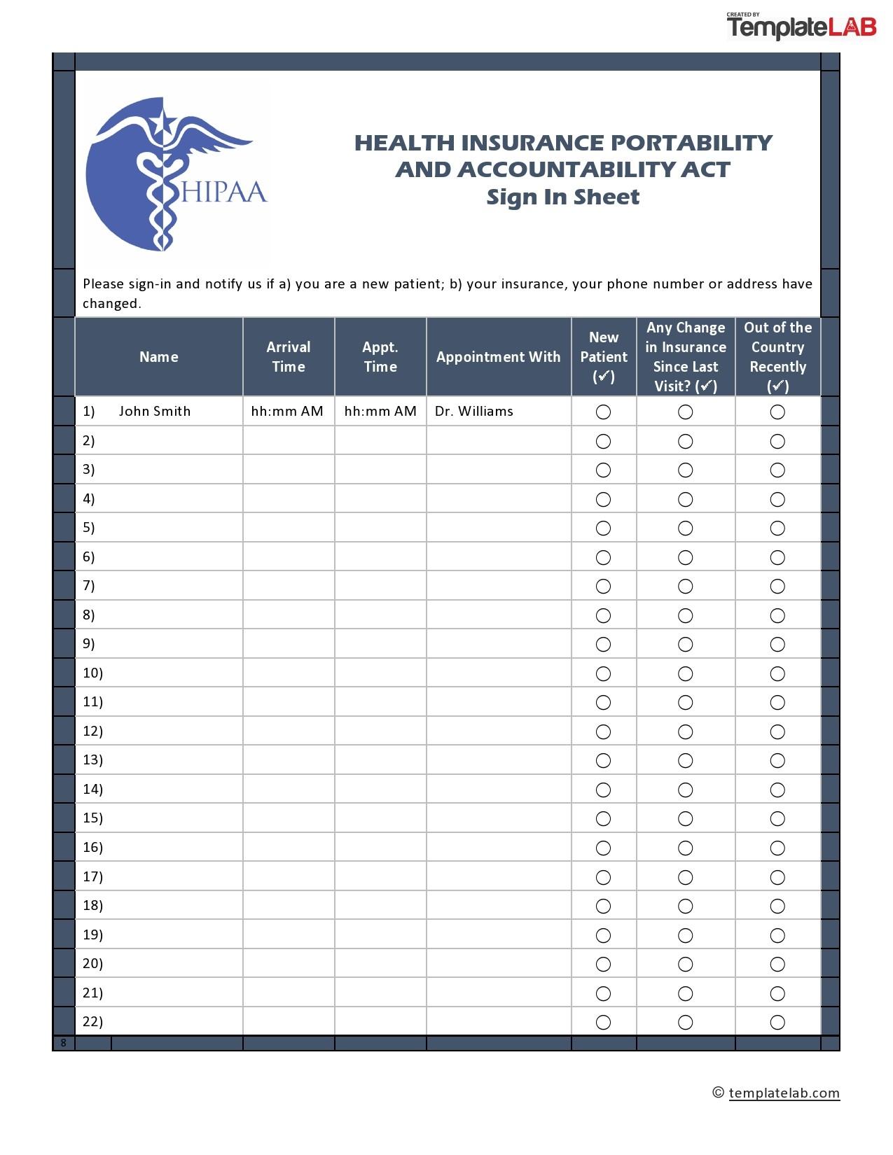 Free HIPAA Sign In Sheet
