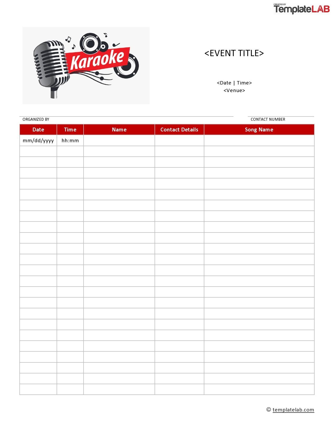 Free Karaoke Sign Up Sheet