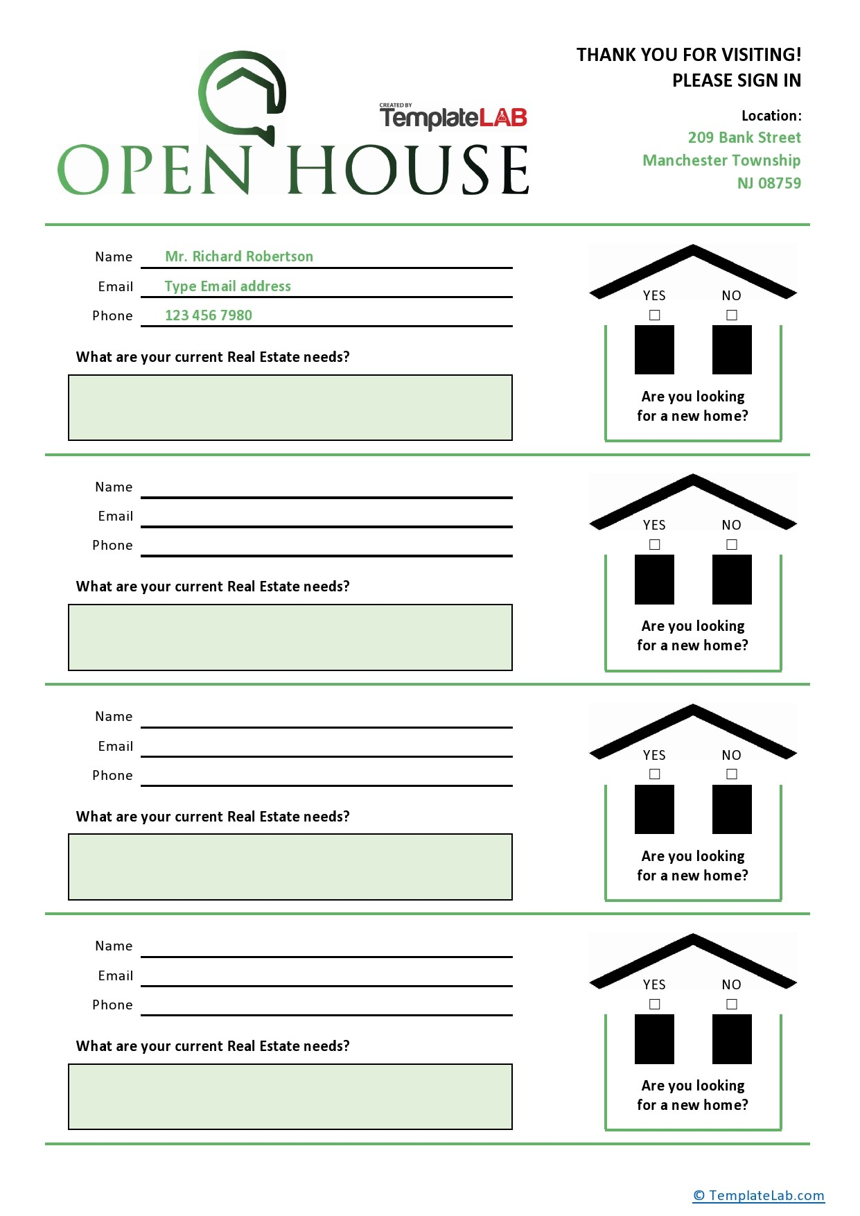 Free Open House Sign Up Sheet