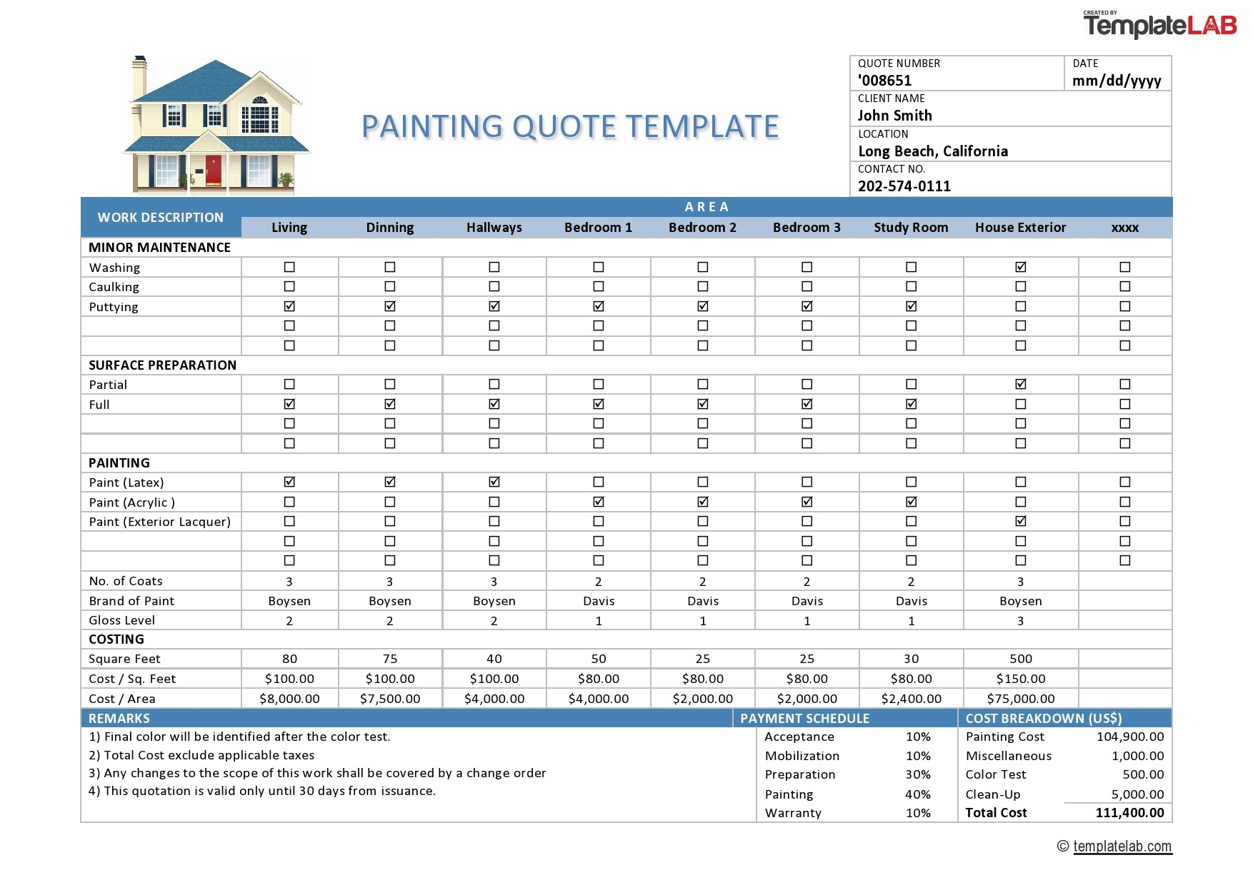 Free Painting Quote Template - TemplateLab