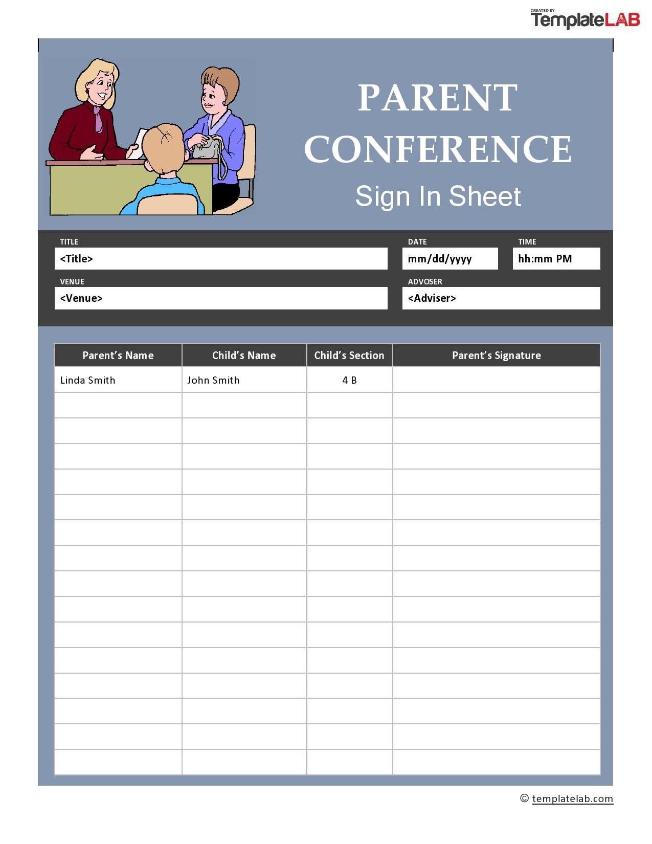 Free Parent Conference Sign In Sheet
