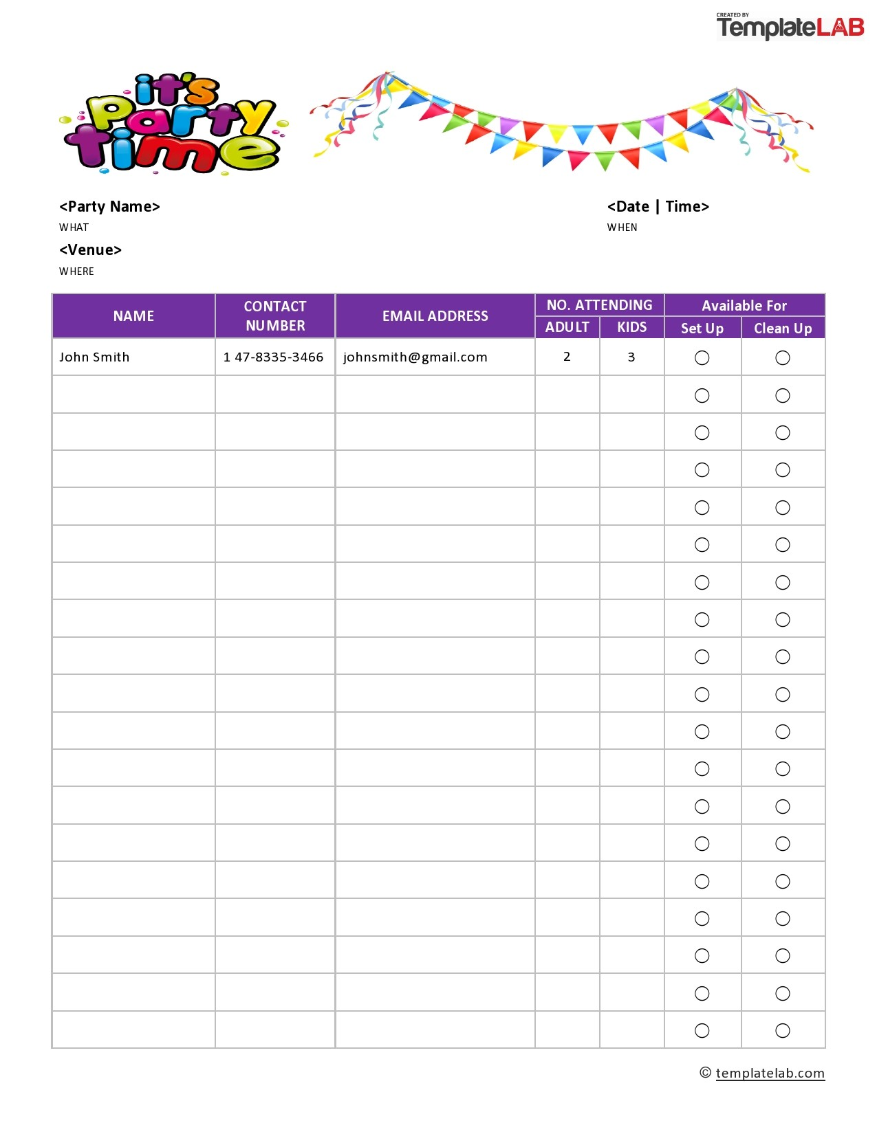 Free Party Sign Up Sheet