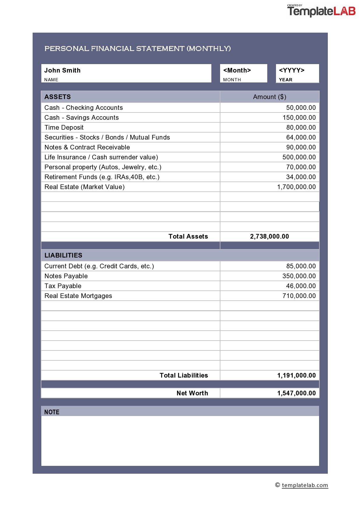 Free Personal Financial Statement 02 - TemplateLab