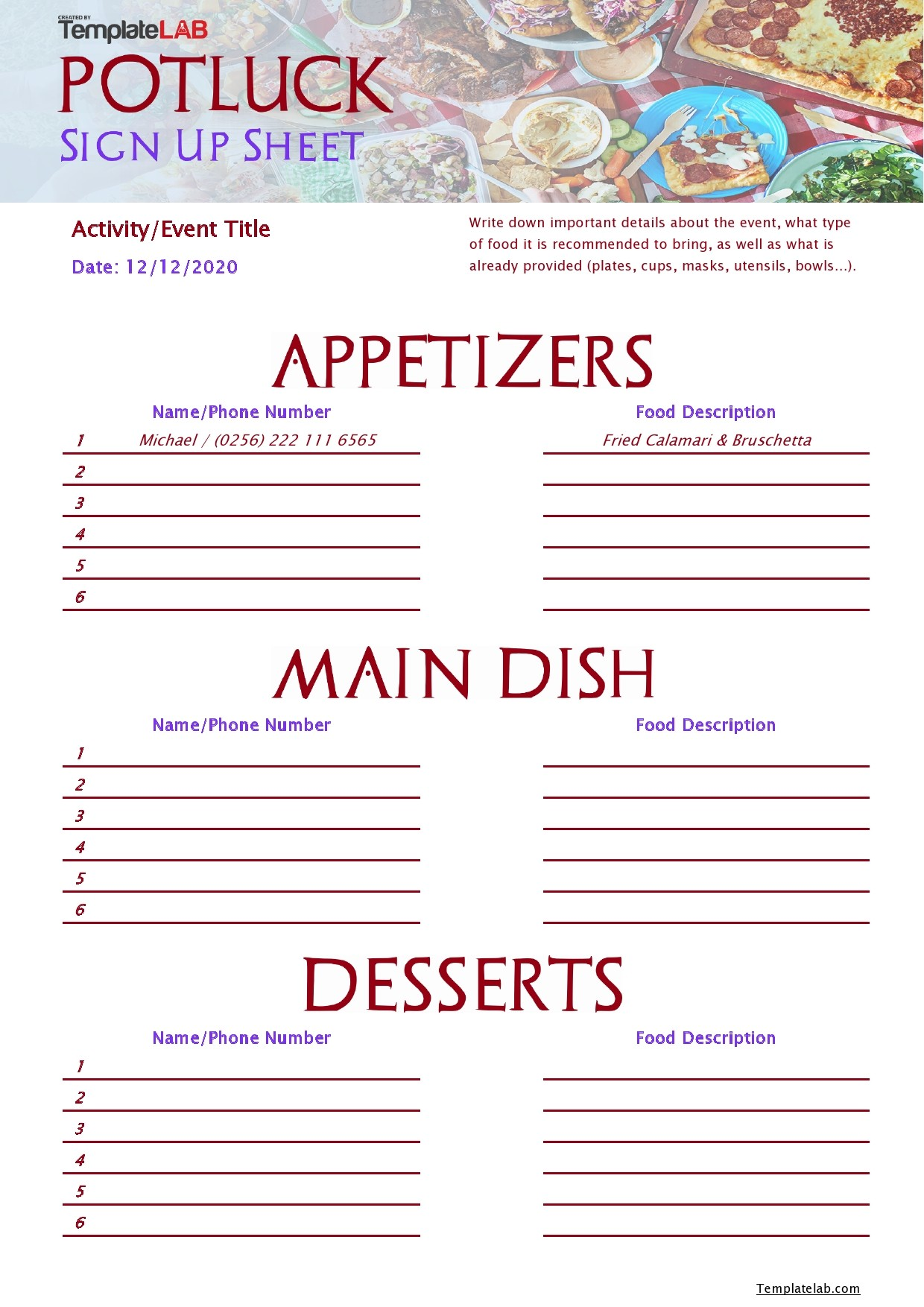 Free Potluck Sign Up Sheet