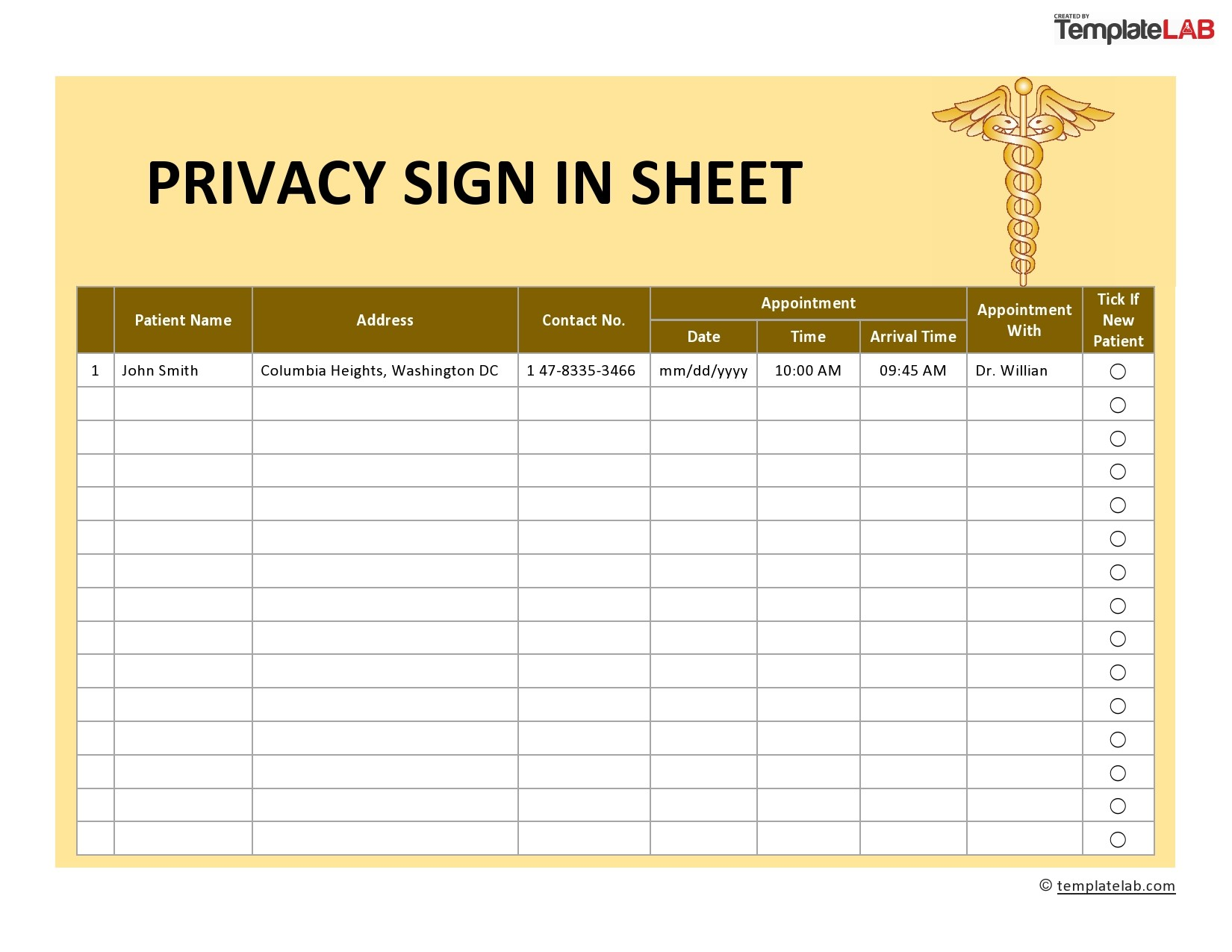 Free Privacy Sign In Sheet