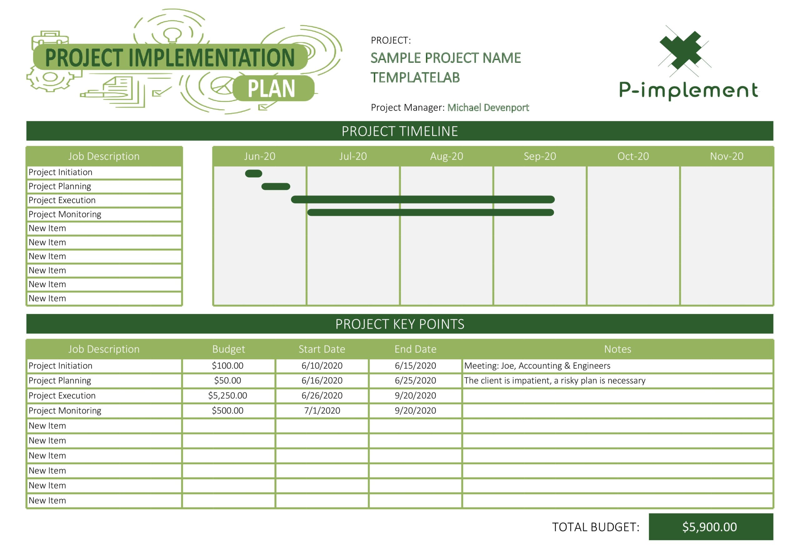 Free Project Implementation Plan Template - TemplateLab.com