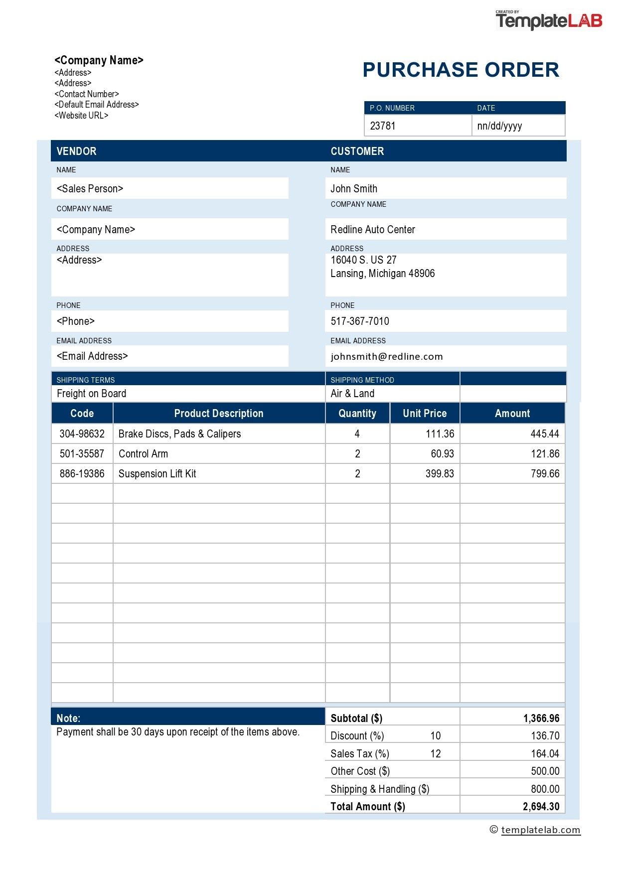 Free Purchase Order Template v3