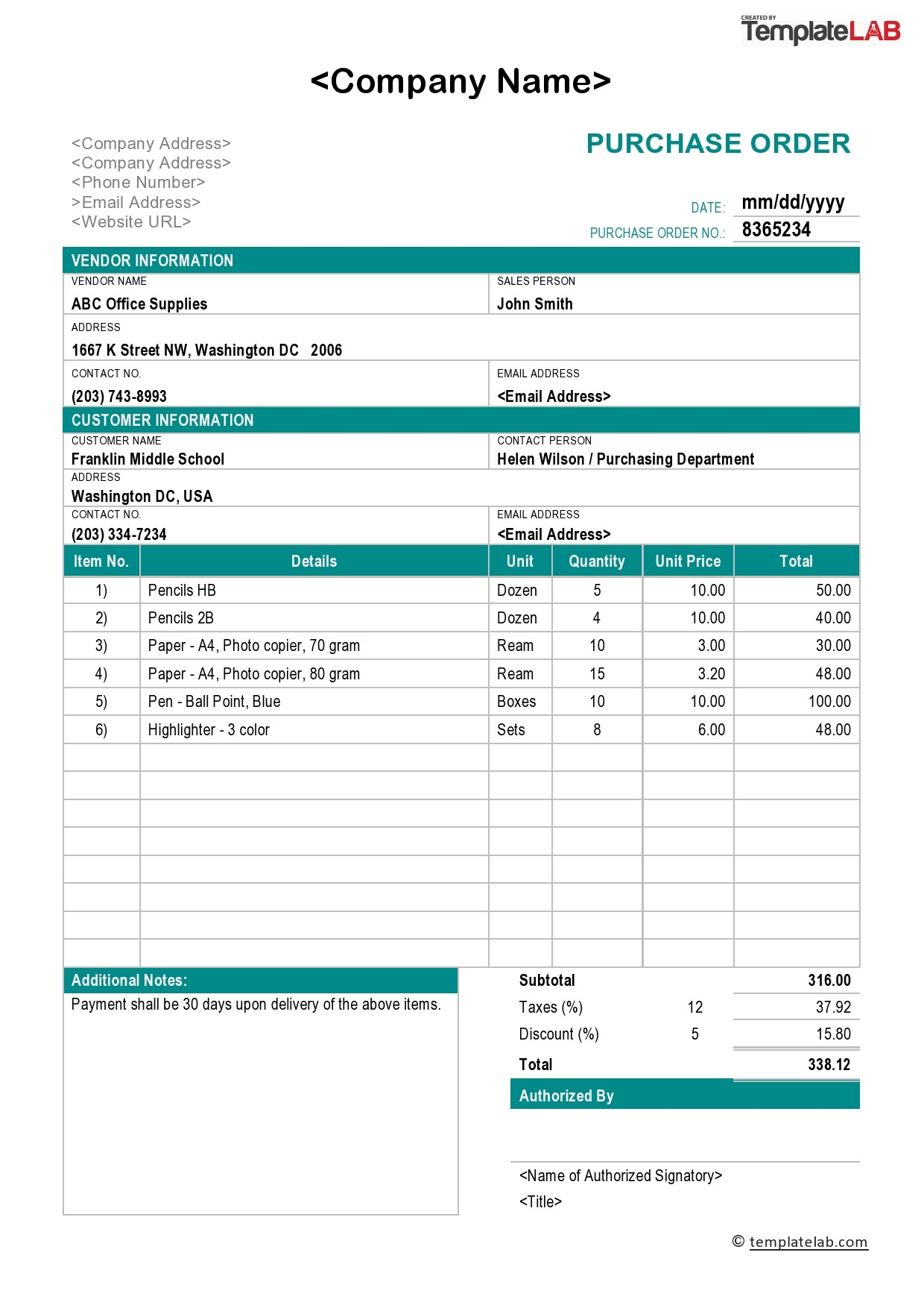 Free Purchase Order Template 02 - TemplateLab