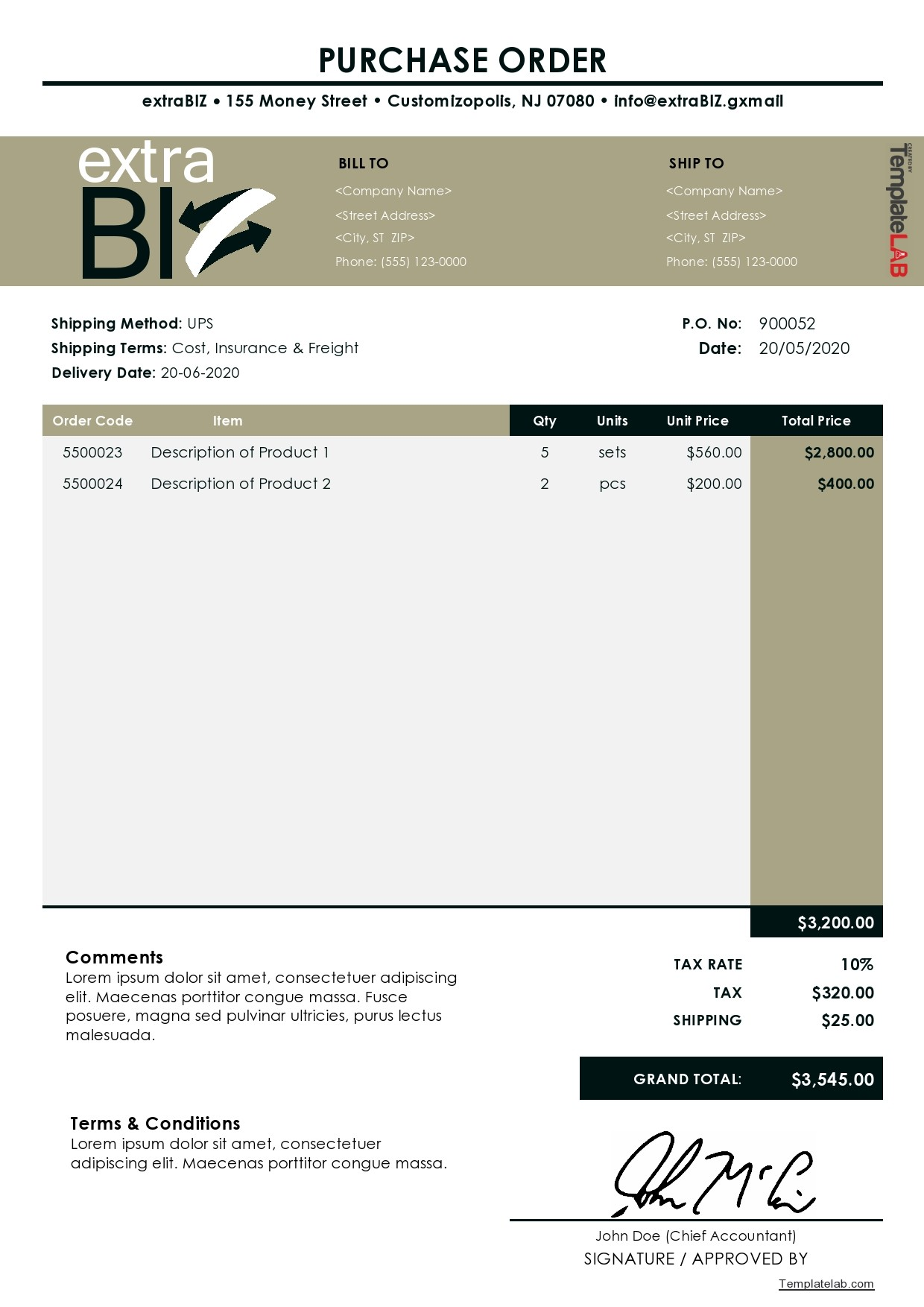 Free Purchase Order Template 03 - TemplateLab.com