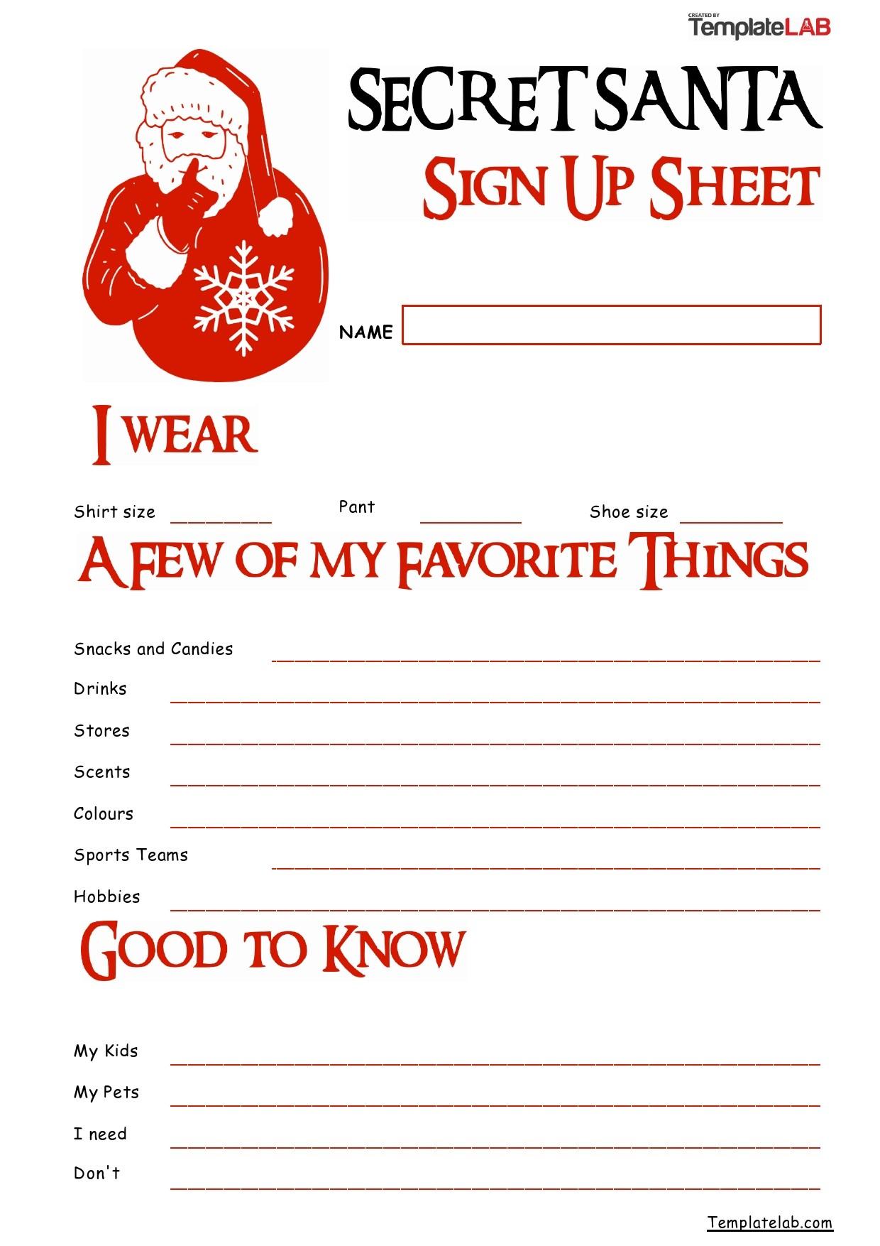 Free Secret Santa Sign Up Sheet