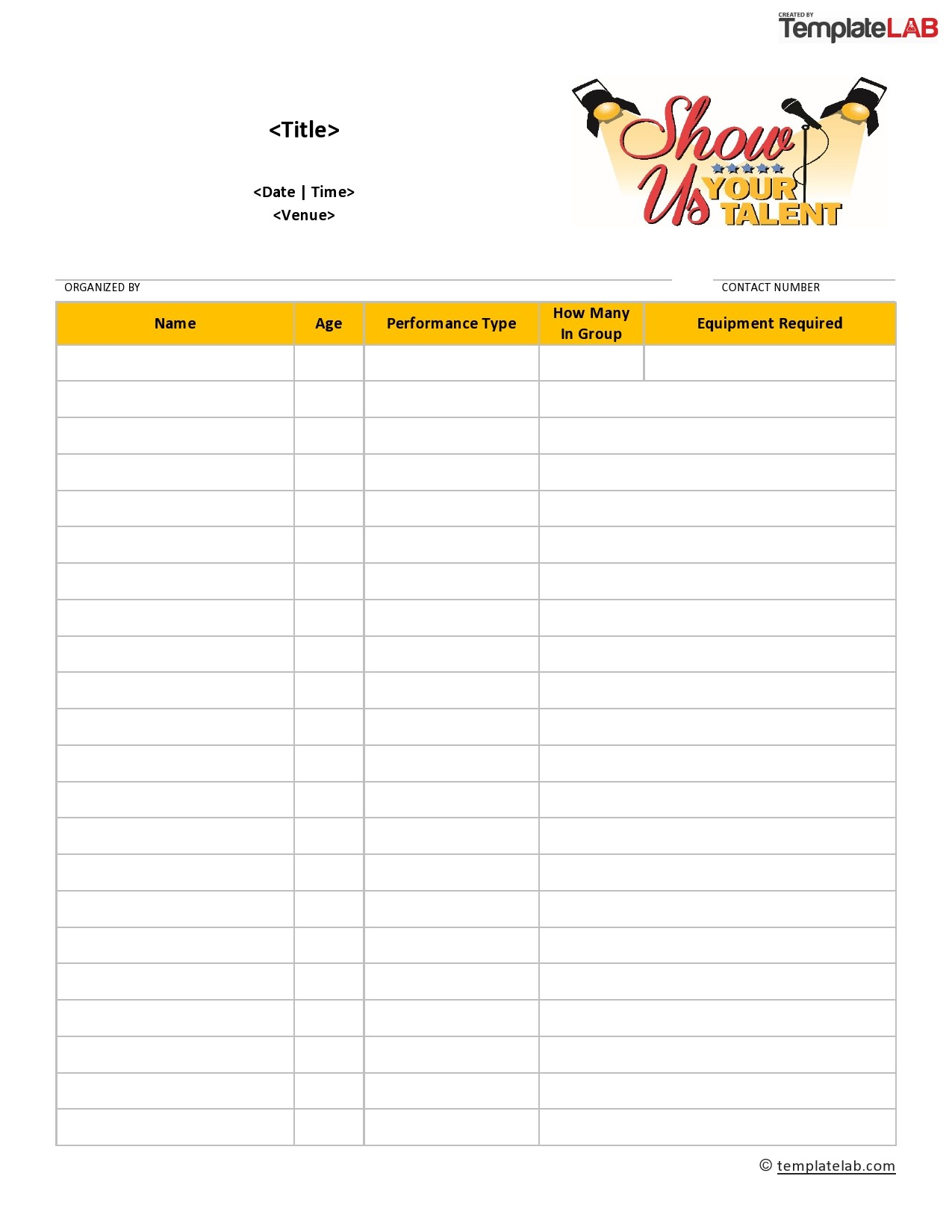Free Talent Show Sign Up Sheet