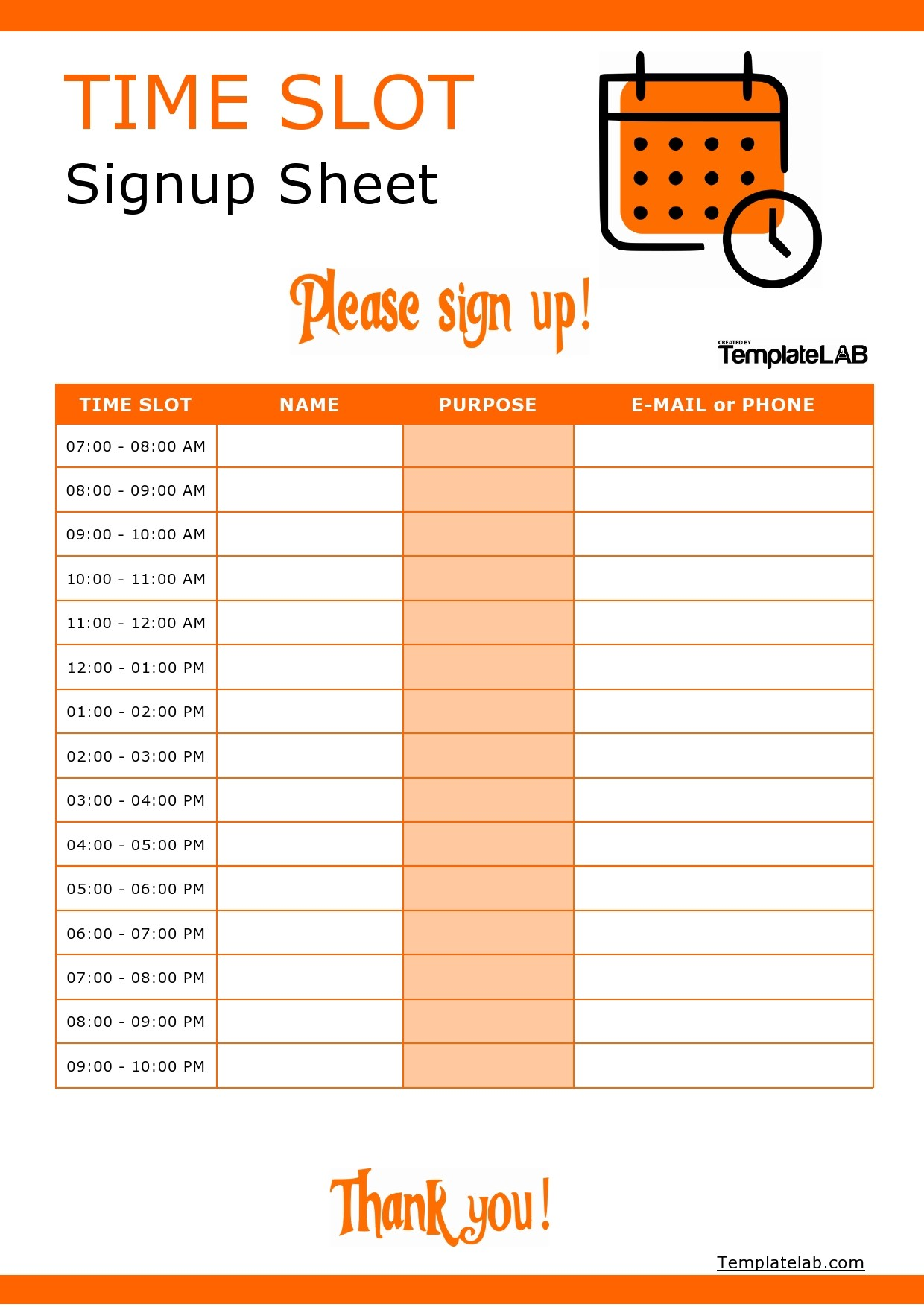 Free Time Slot Sign Up Sheet