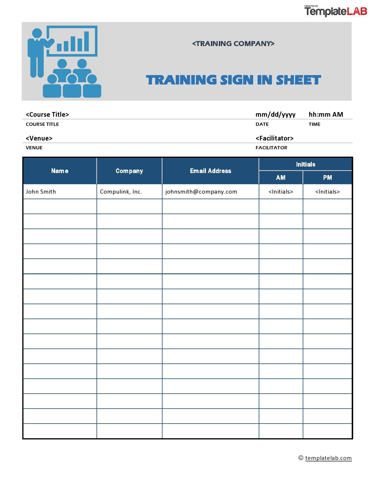 Free Training Sign In Sheet