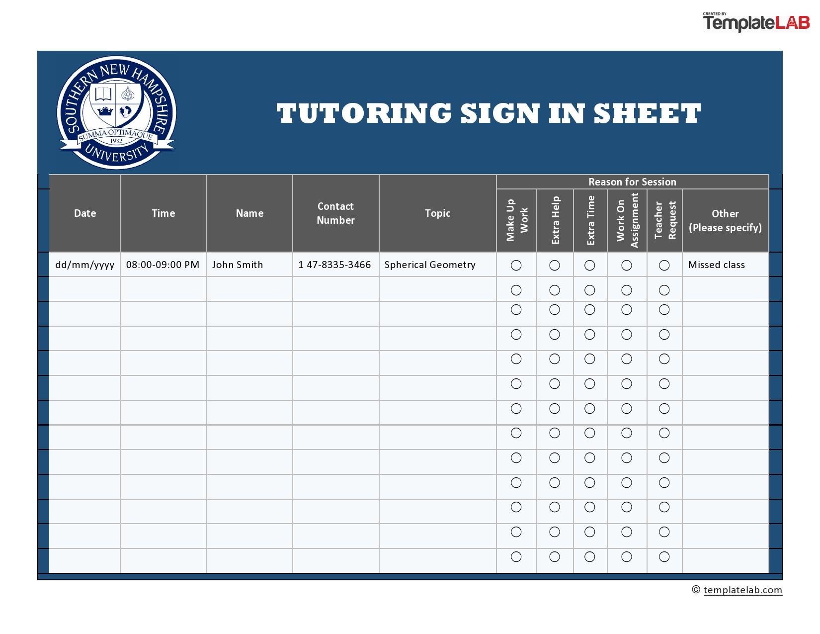 Free Tutoring Sign In Sheet