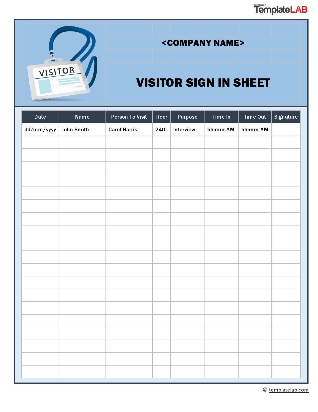 Free Visitor Sign In Sheet