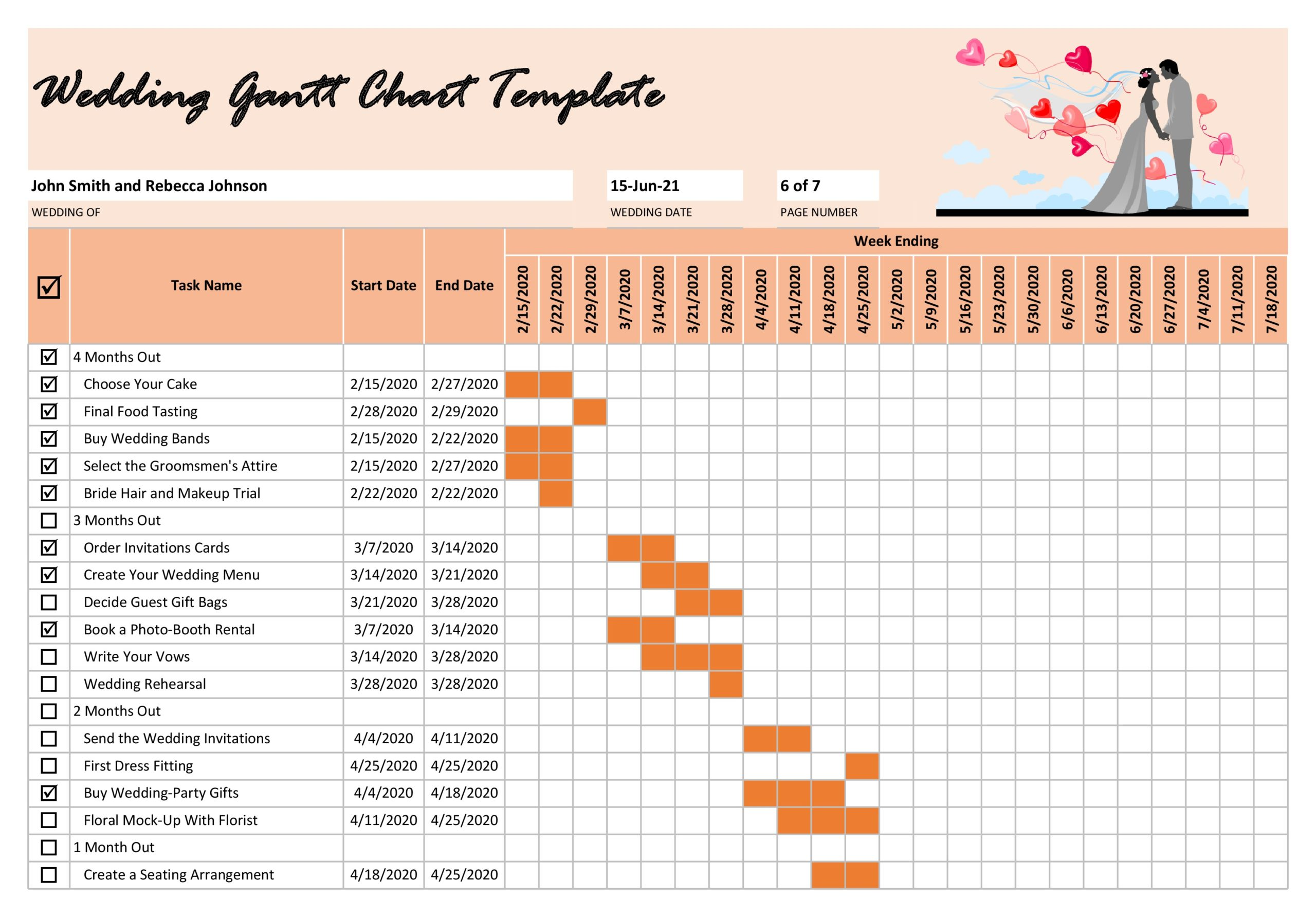 Free Wedding Gantt Chart Template - TemplateLab