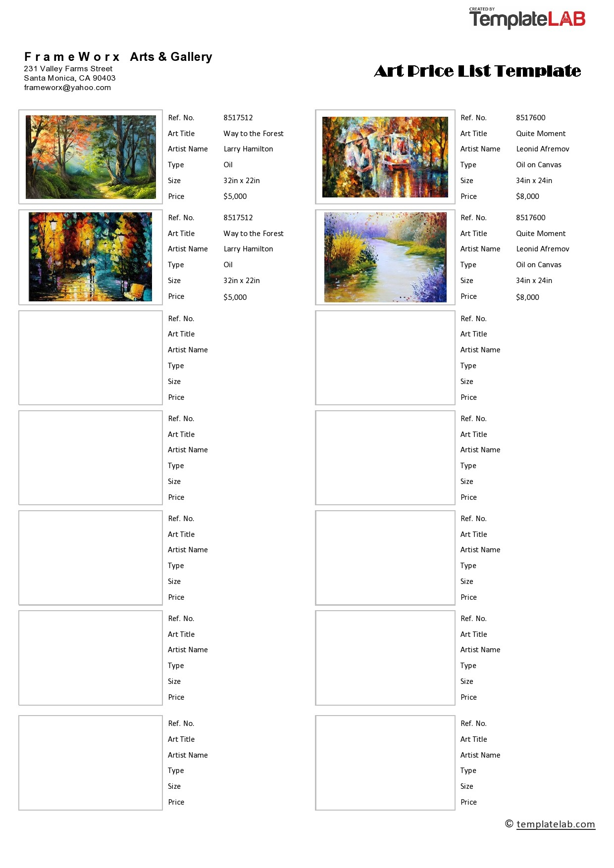 Free Art Price List Template