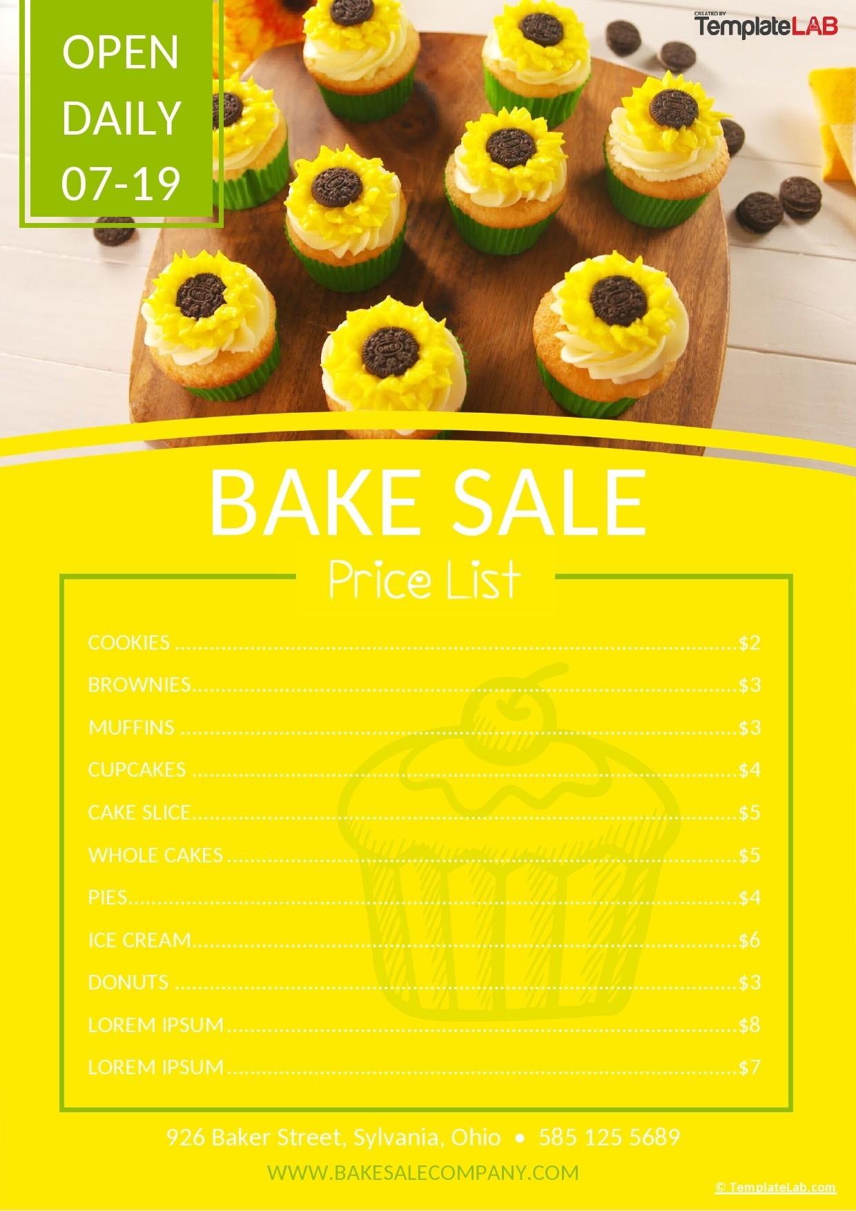 Free Bake Sale Price List Template - TemplateLab.com
