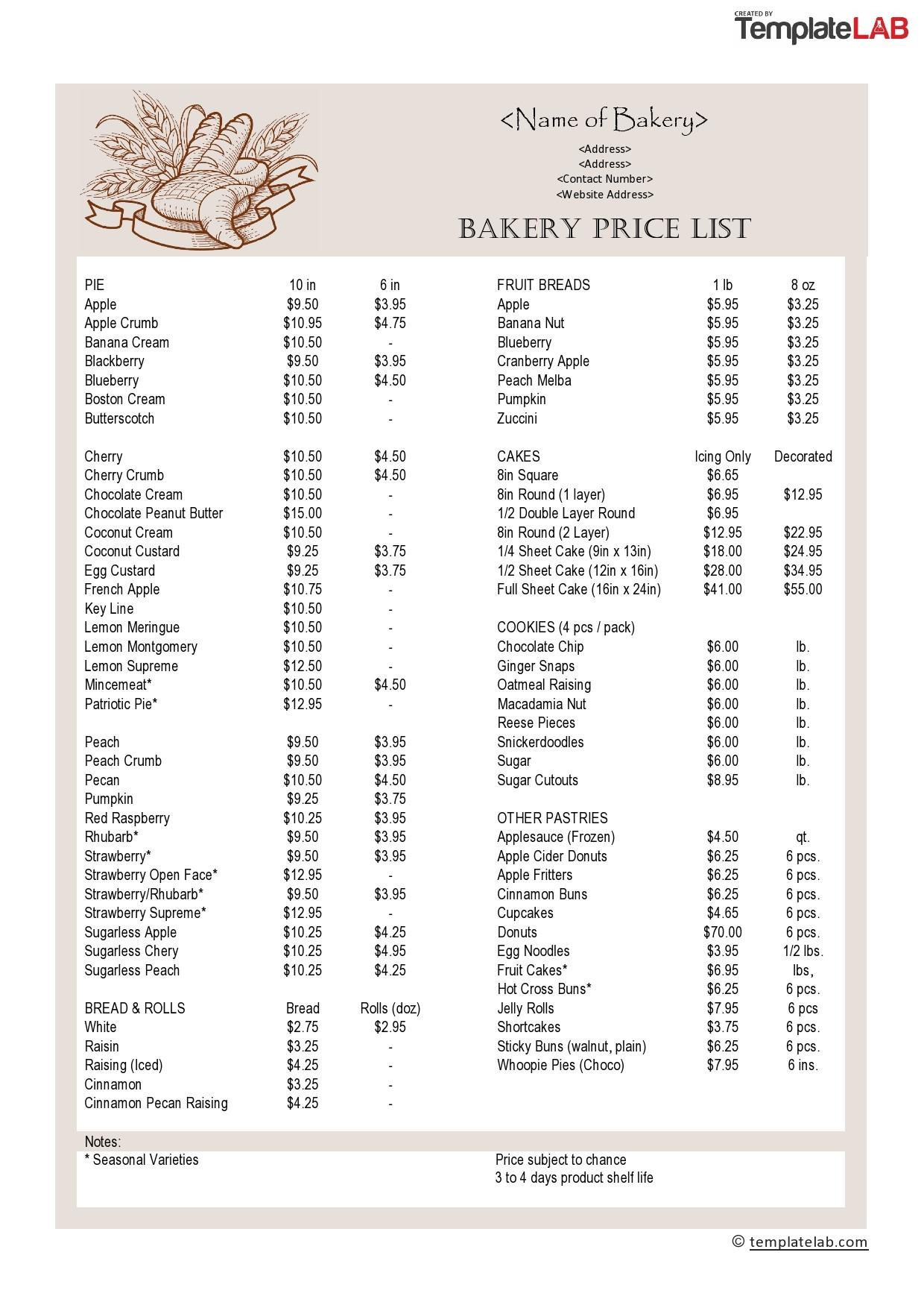 Free Bakery Price List Template - TemplateLab