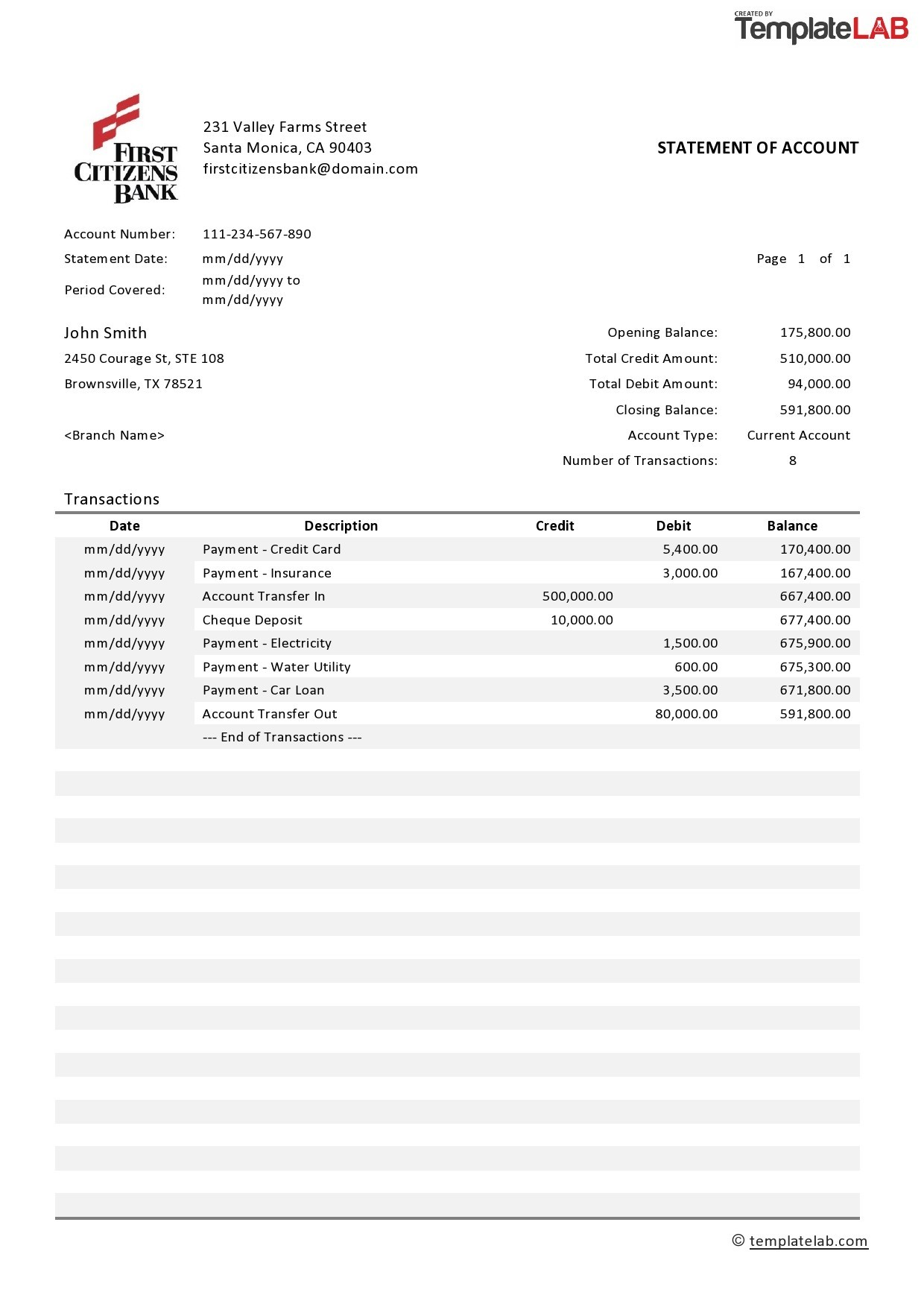Free Bank Statement Template 1 - TemplateLab