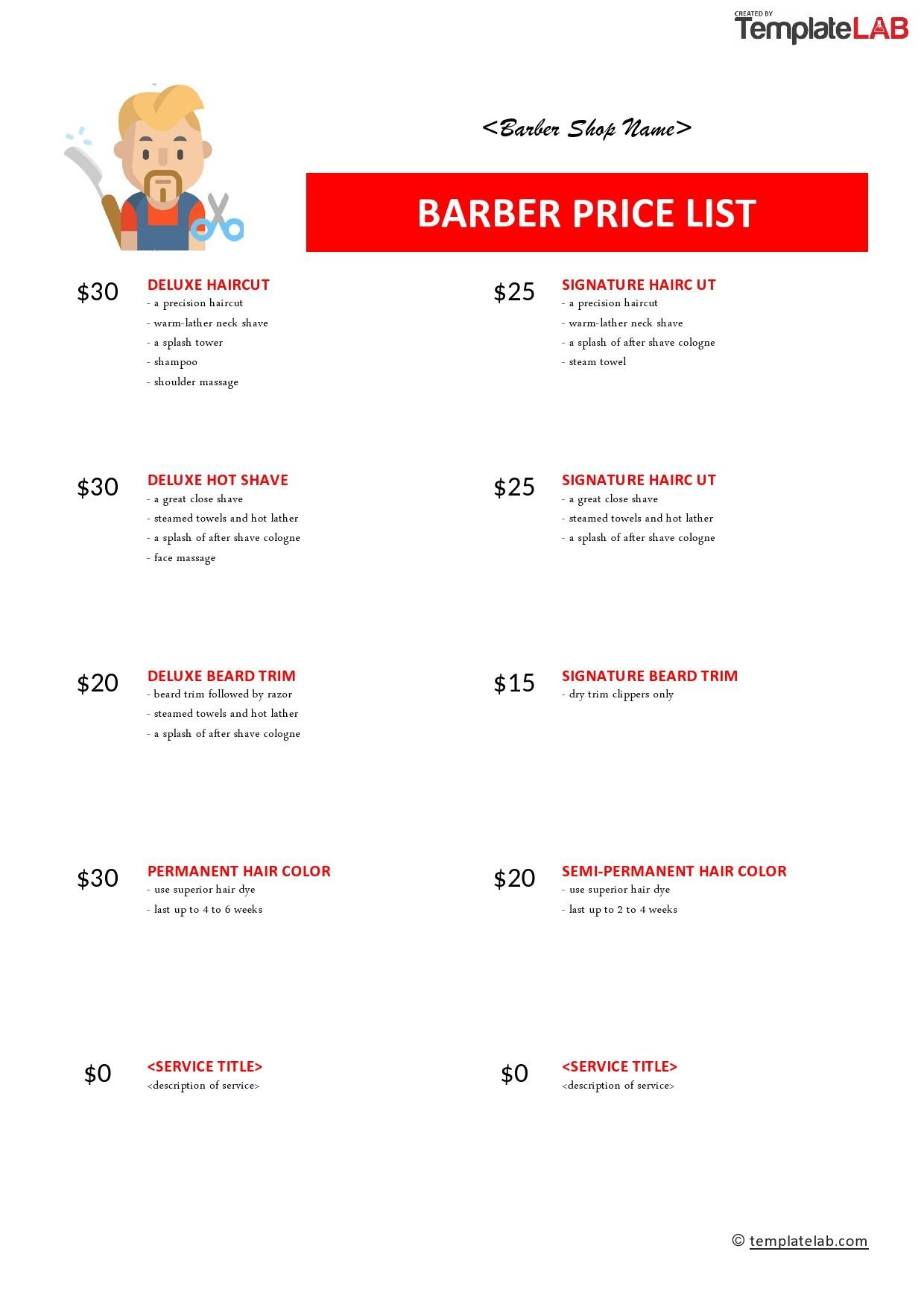 Free Barber Price List Tempate - TemplateLab