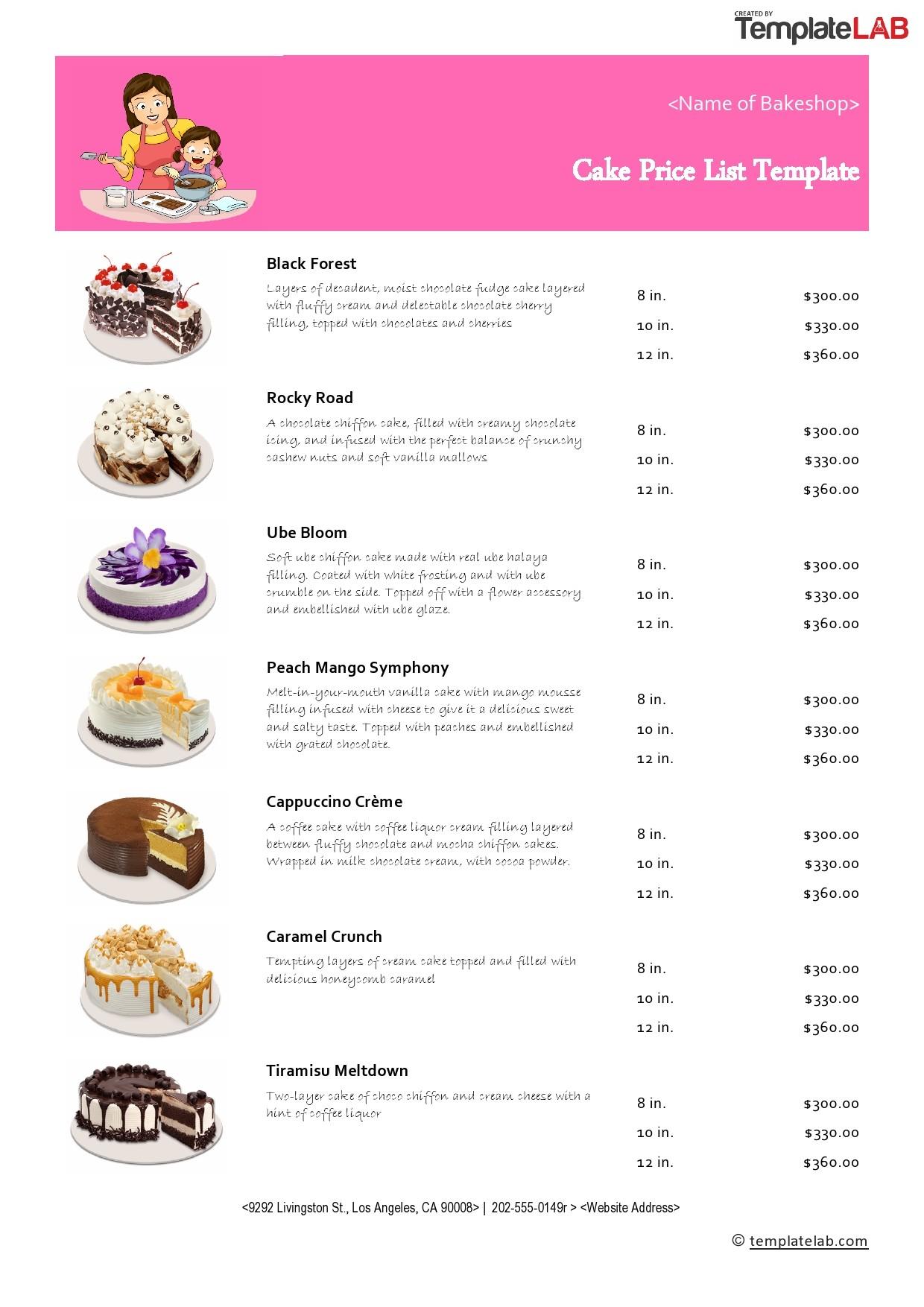 Free Cake Price List Template  - TemplateLab