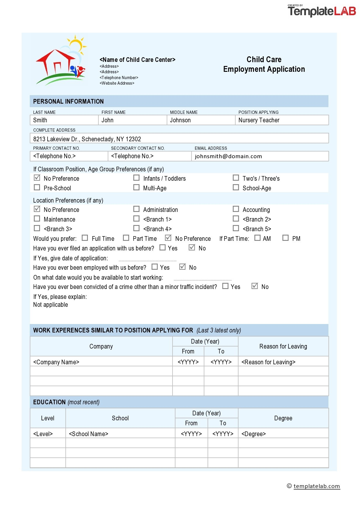 Free Child Care Employment Application Template - TemplateLab