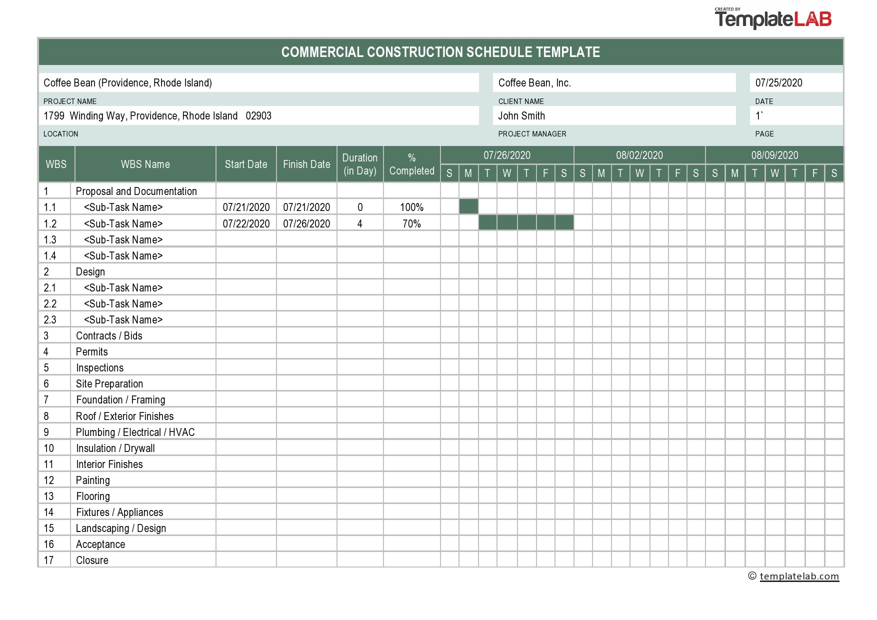 Free Commercial Construction Schedule - TemplateLab