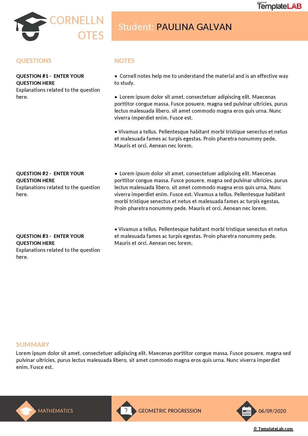 Free Cornell Notes Template 02 - TemplateLab.com