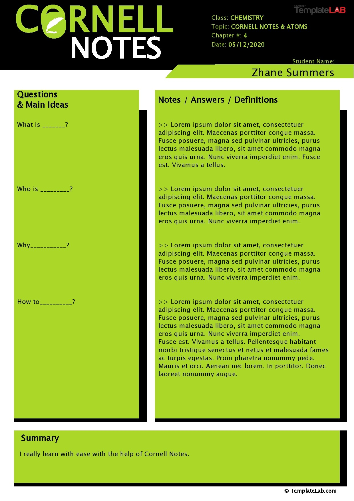 Free Cornell Notes Template 03 - TemplateLab.com