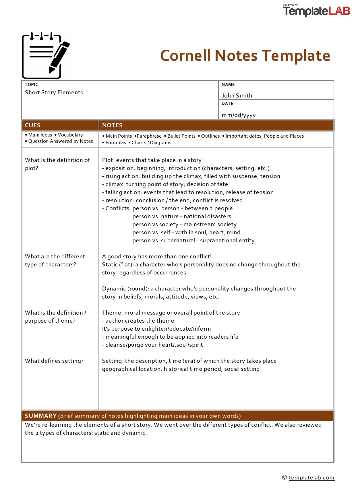 Free Cornell Notes Template 2 - TemplateLab