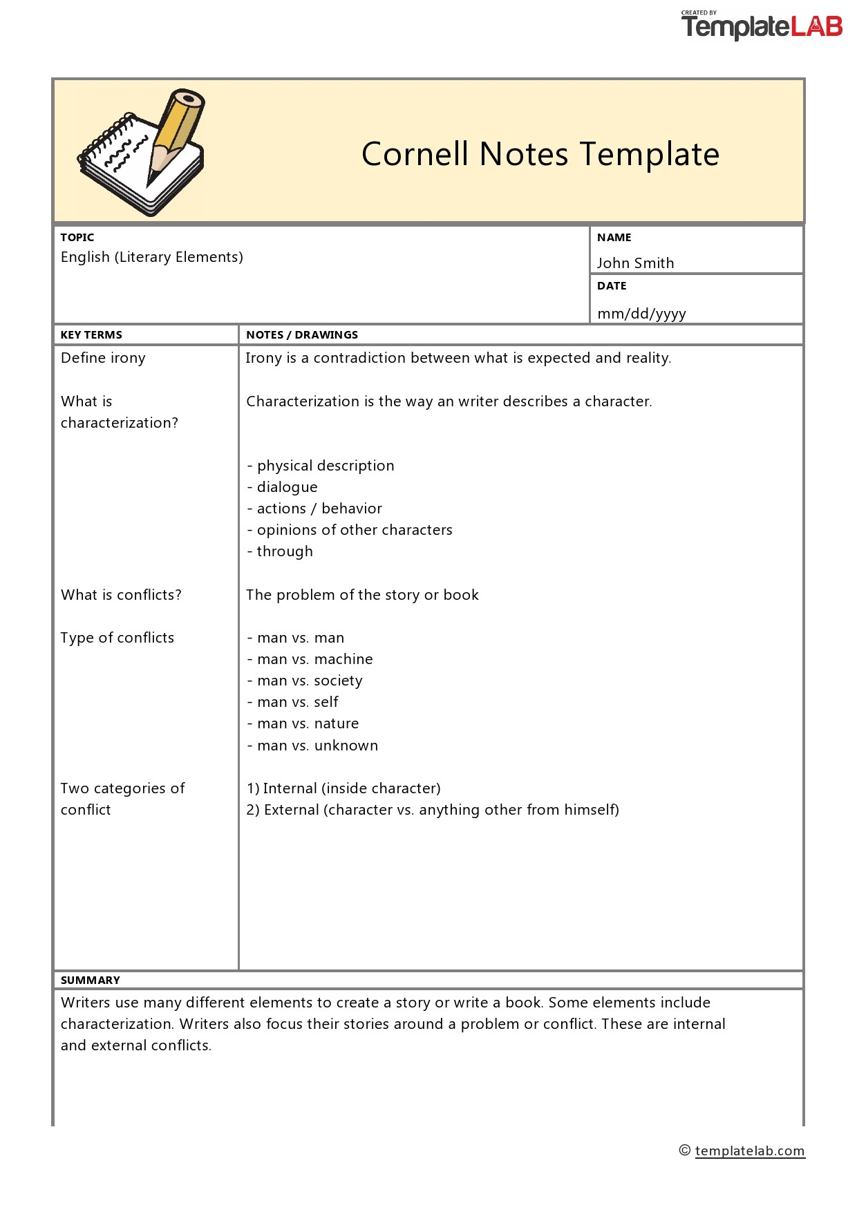 Free Cornell Notes Template 4 - TemplateLab