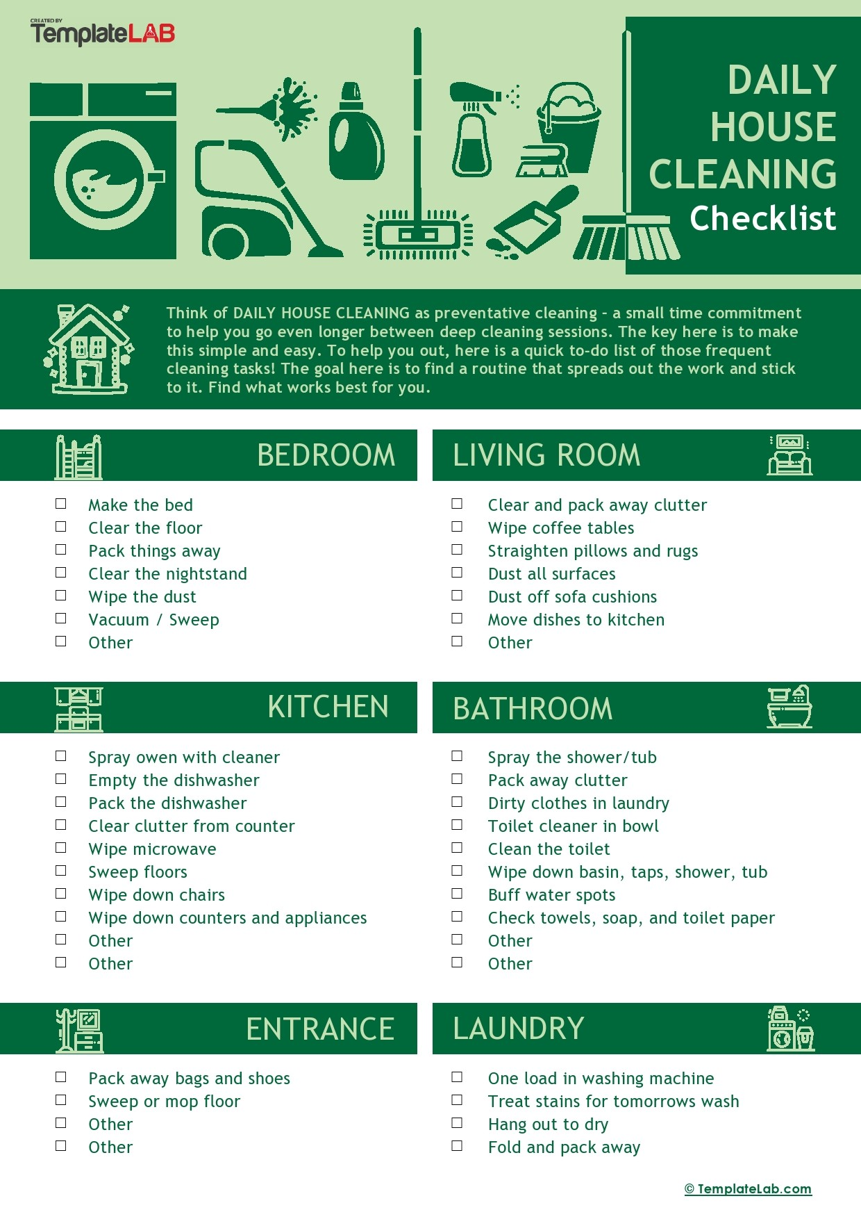 Free Daily House Cleaning Checklist Template - TemplateLab.com