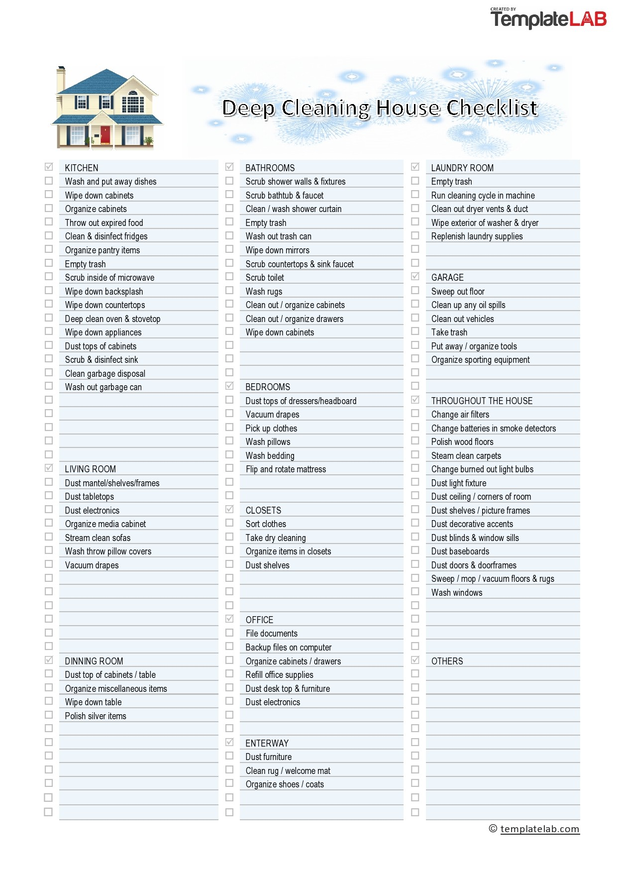 Free Deep Cleaning House Checklist - TemplateLab