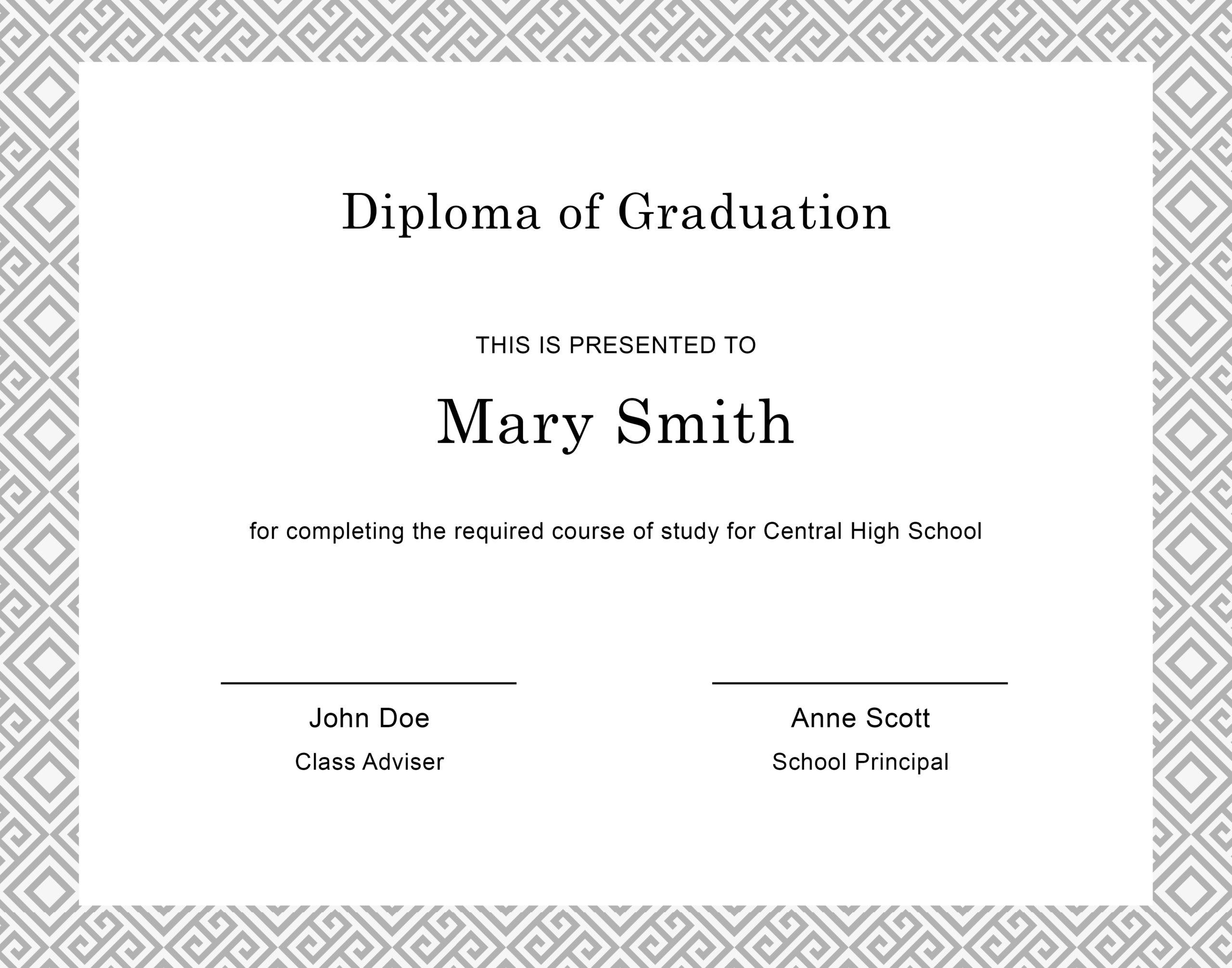Free Diploma Template 1 - TemplateLab.com