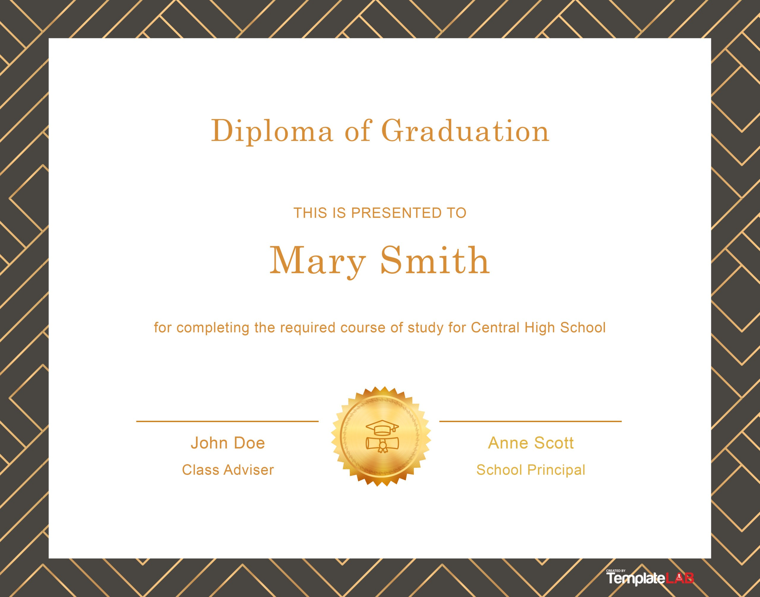 Free Diploma Template from templatelab.com