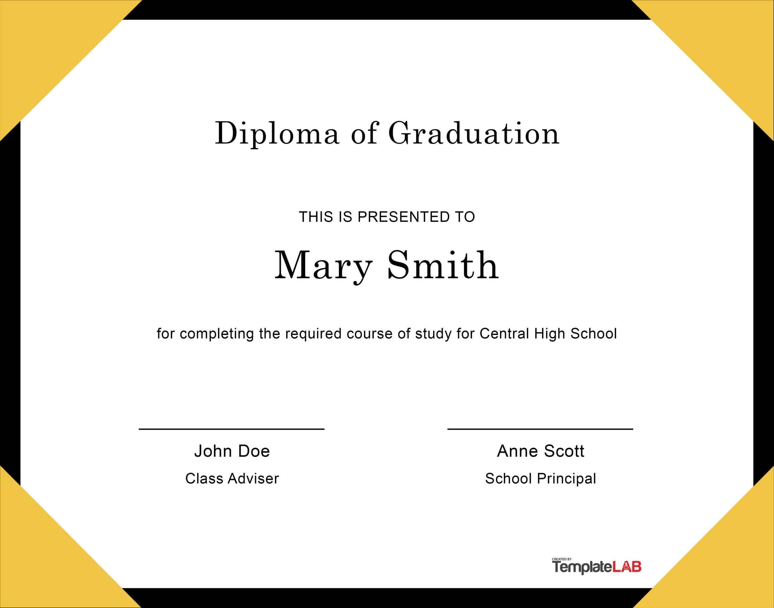 Free Diploma Template 13 - TemplateLab.com
