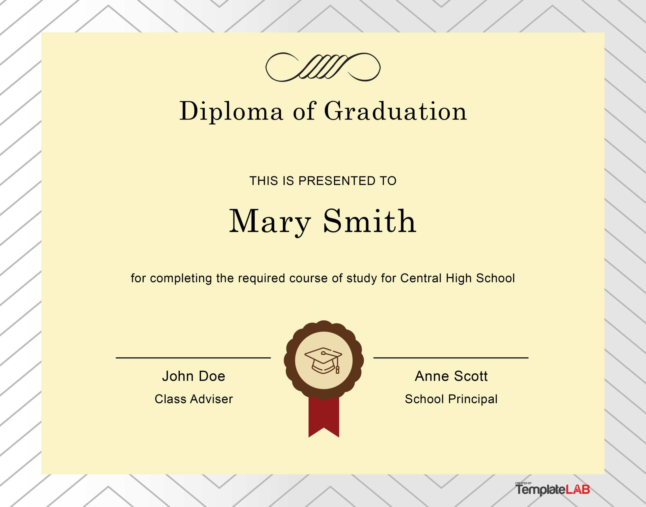 Free Diploma Template 14 - TemplateLab.com