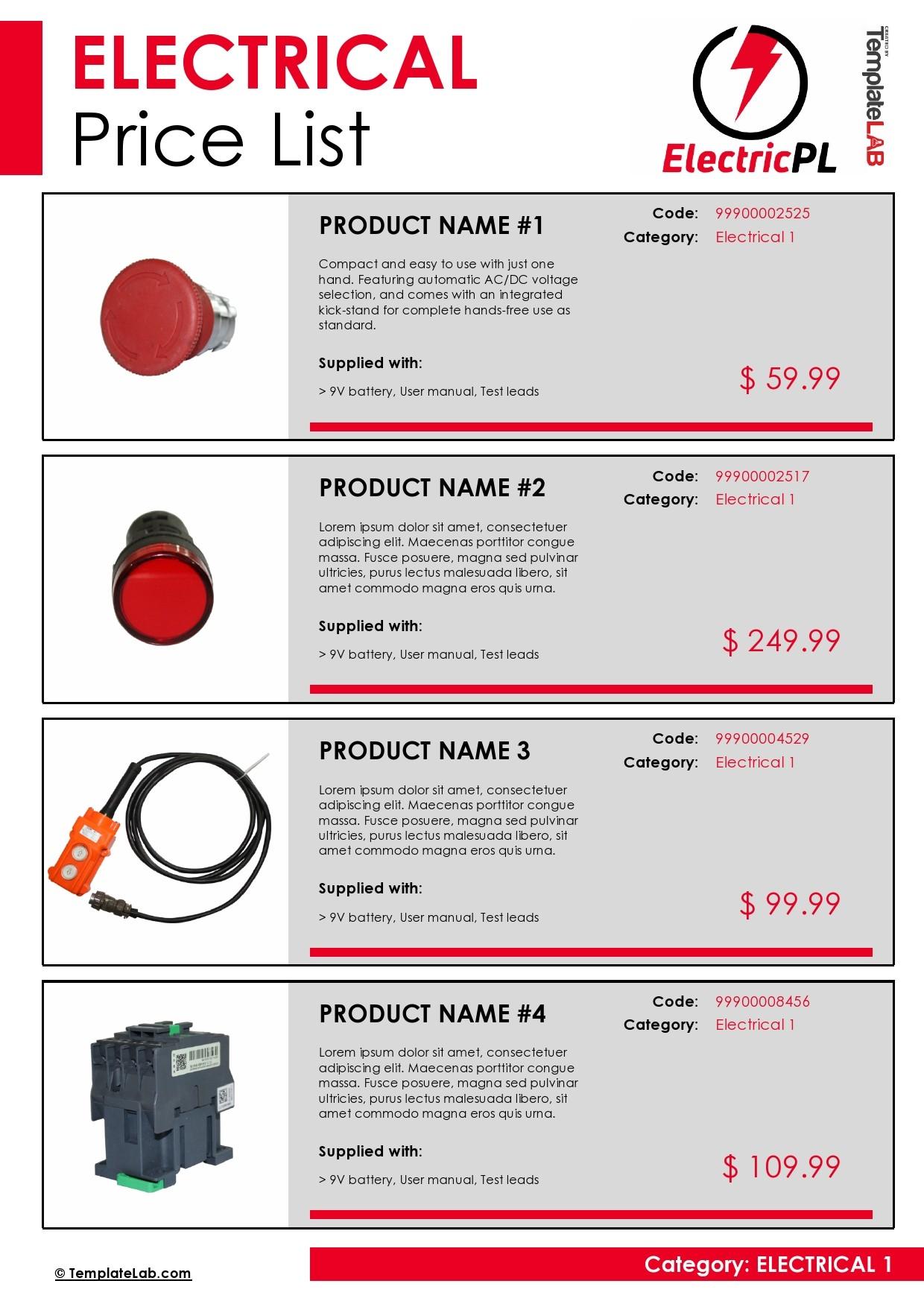 Free Electrical Price List Template - TemplateLab.com